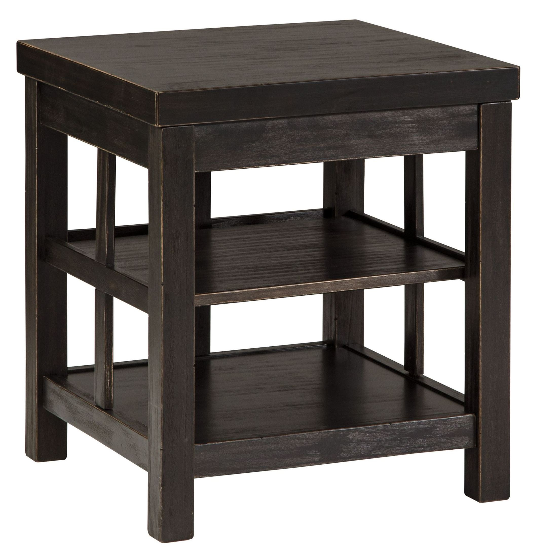 Gavelston Vintage Rub Through Black Square End Table From
