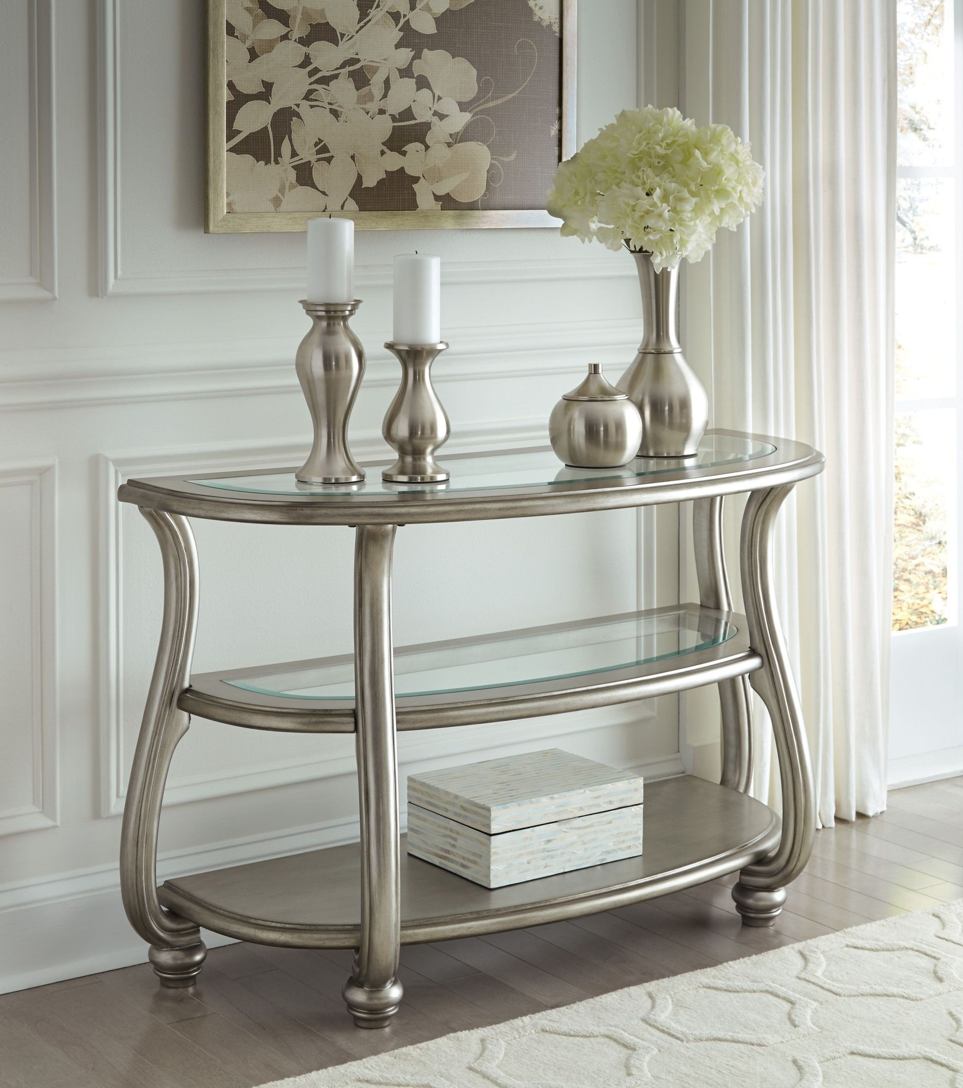Coralayne metallic silver sofa table from ashley coleman furniture coralayne metallic silver sofa table geotapseo Images