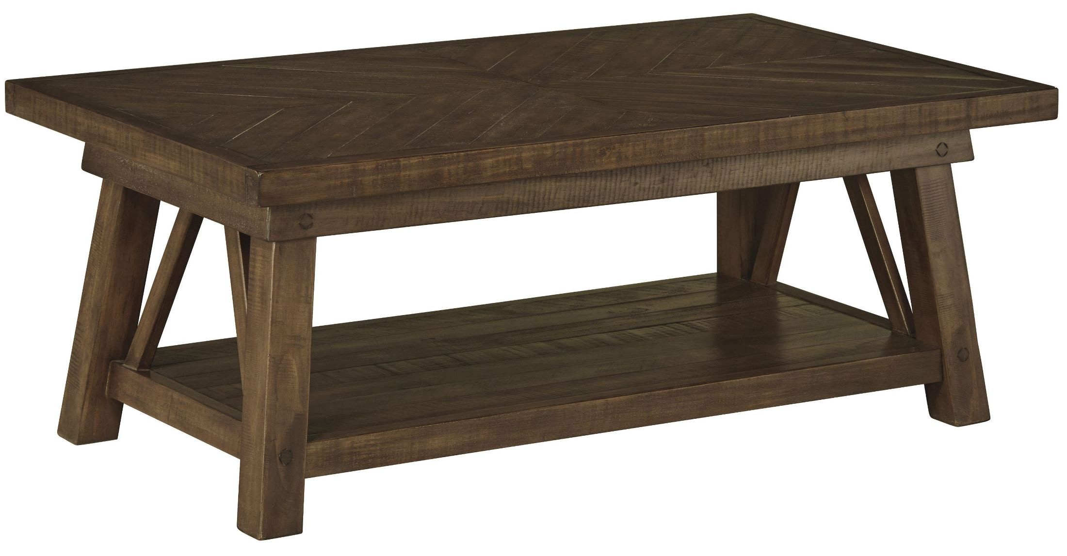 Dondie rustic brown rectangular cocktail table from ashley