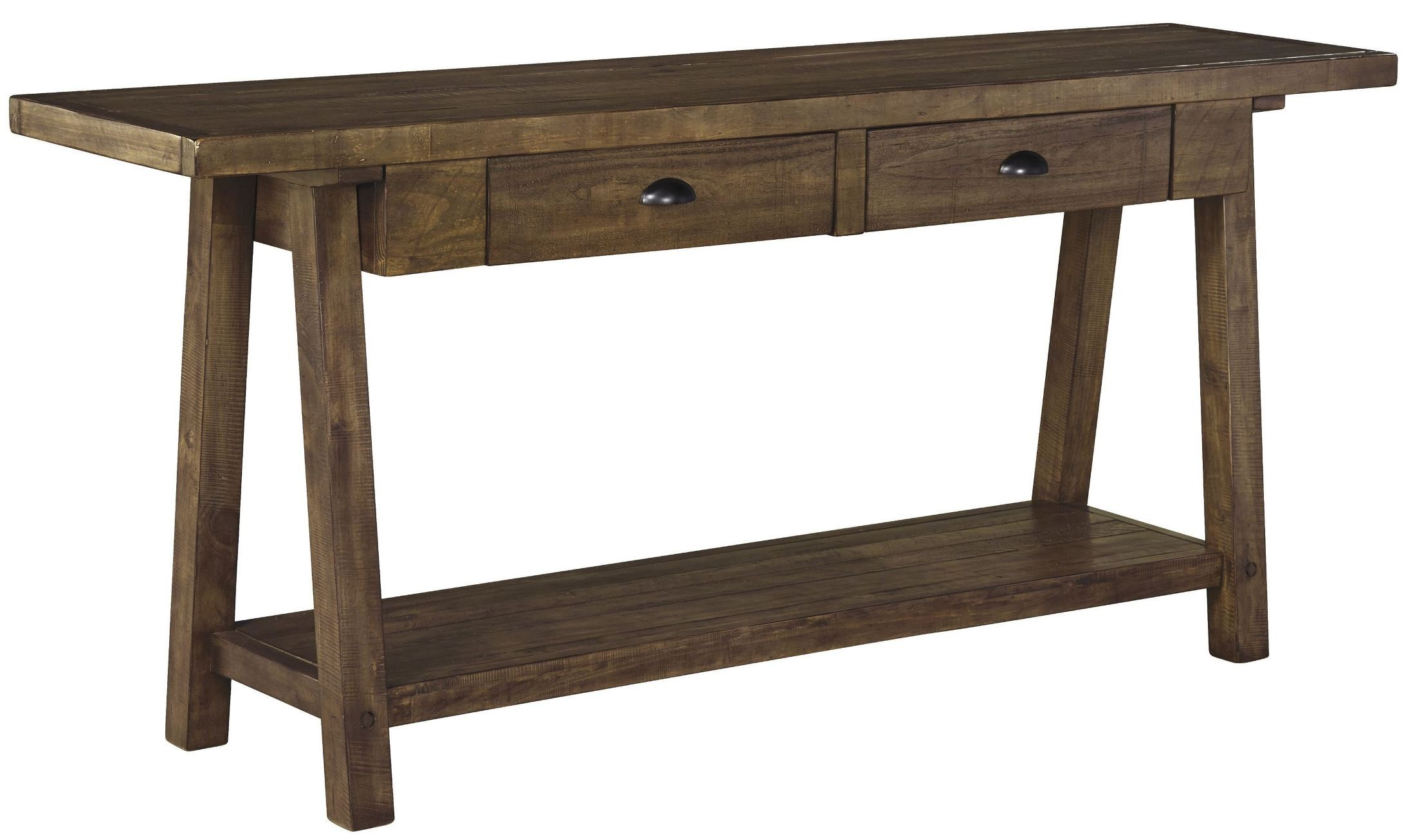 Dondie rustic brown sofa table from ashley coleman furniture for 5 sofa table