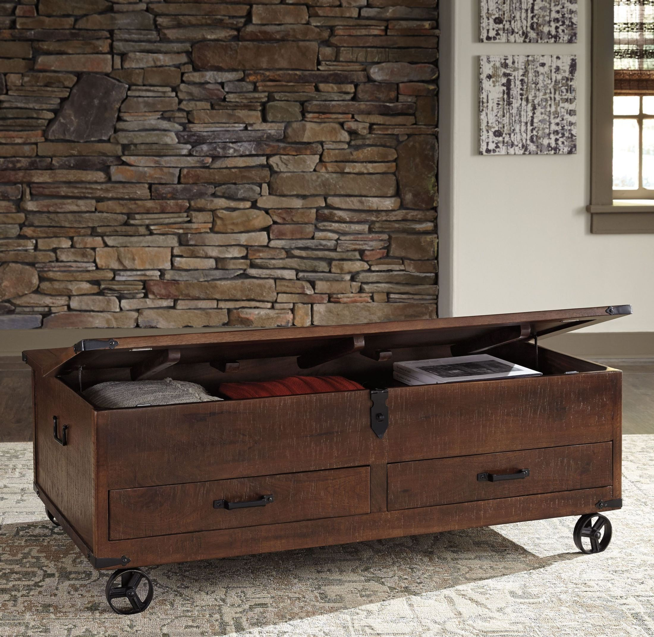 norlandon medium brown storage cocktail table from ashley