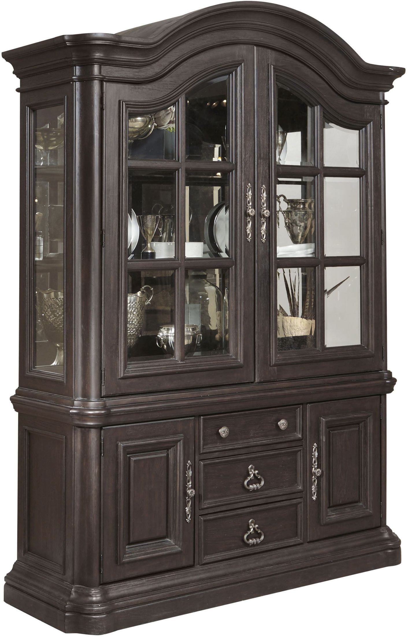 Palisade Distressed Dark Brown China Cabinet From Pulaski