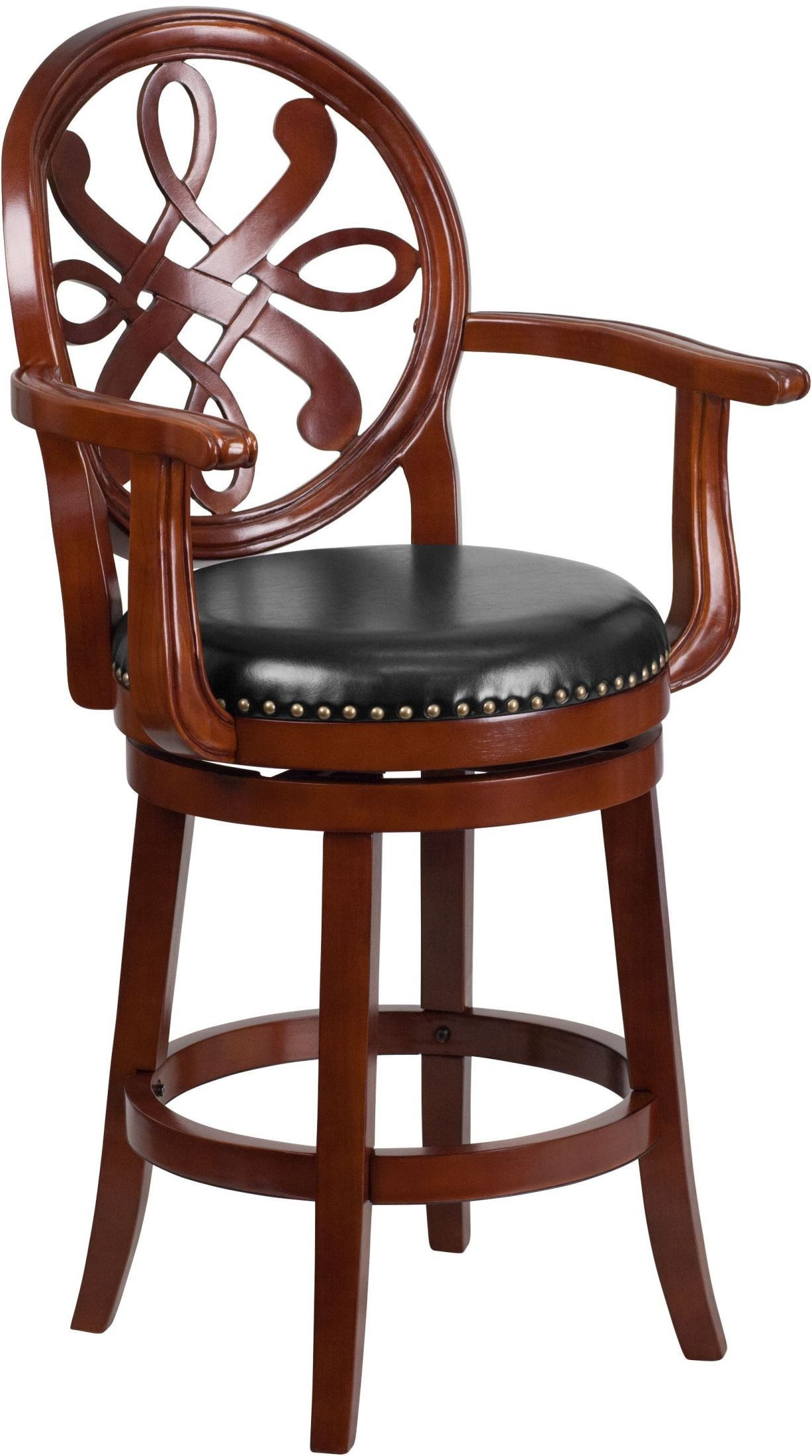 26inch Black Swivel High Cherry Wood Counter Chair With