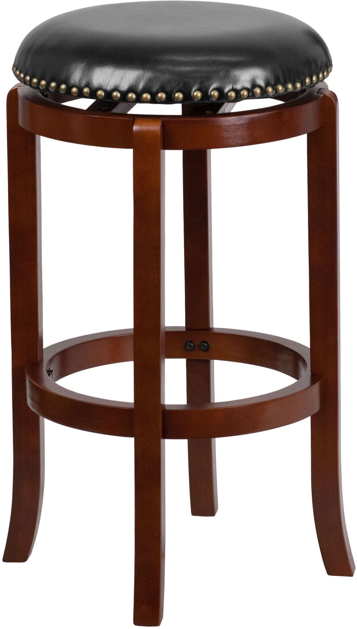 29inch black upholstery swivel backless light cherry wood bar stool from renegade coleman. Black Bedroom Furniture Sets. Home Design Ideas