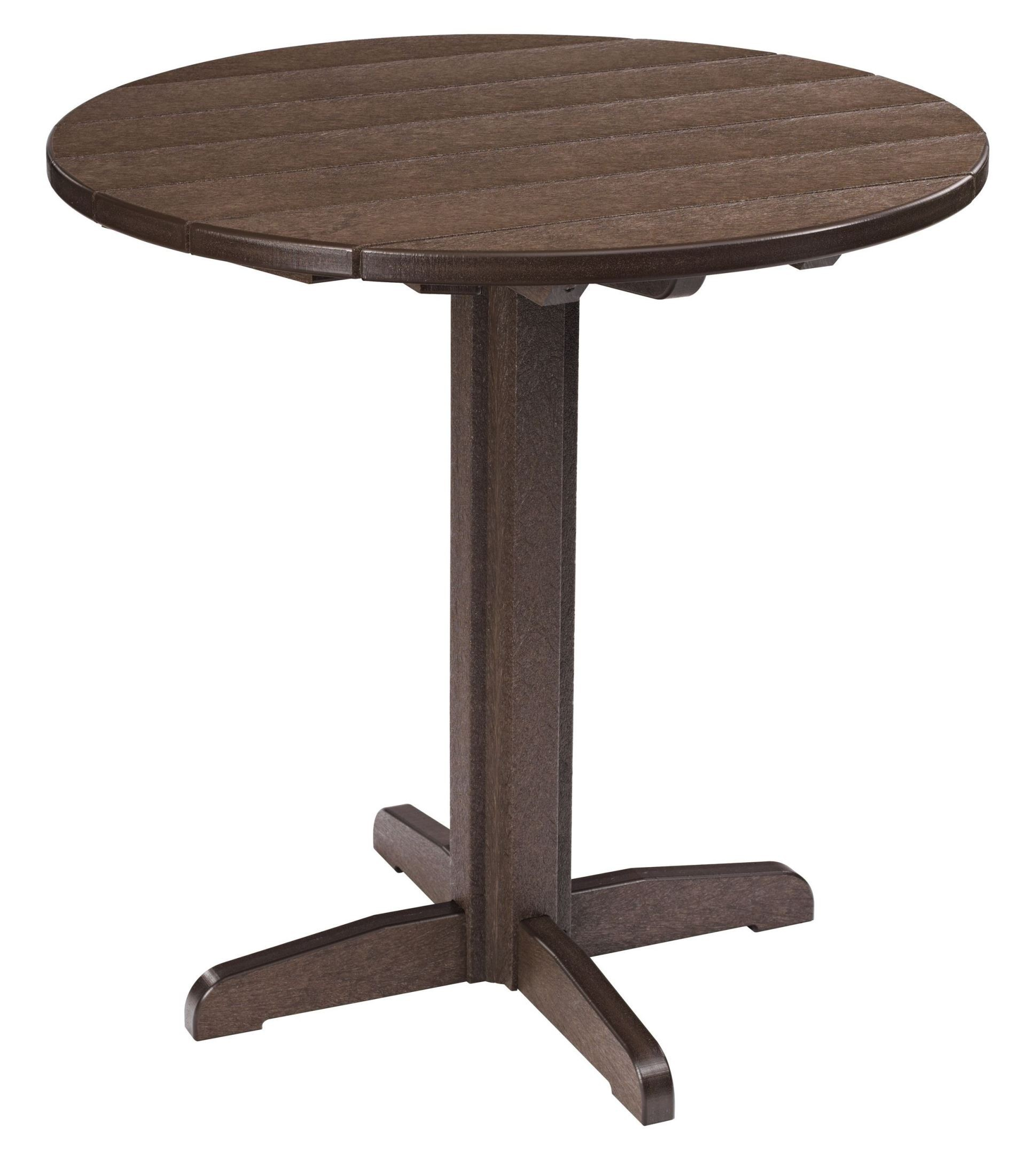 Generations chocolate 37 round pub height pedestal table for Table 6 to 16