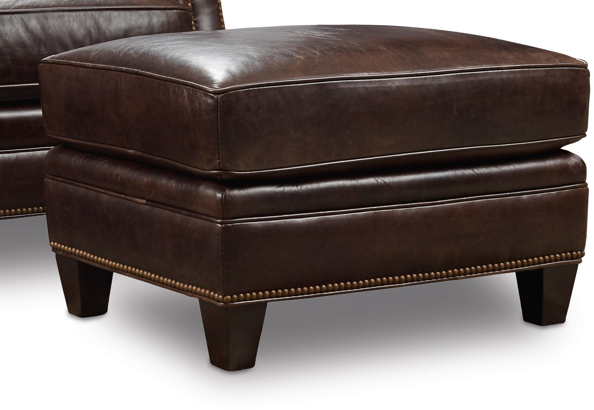 Bradshaw Brown Leather Ottoman From Hooker Coleman Furniture