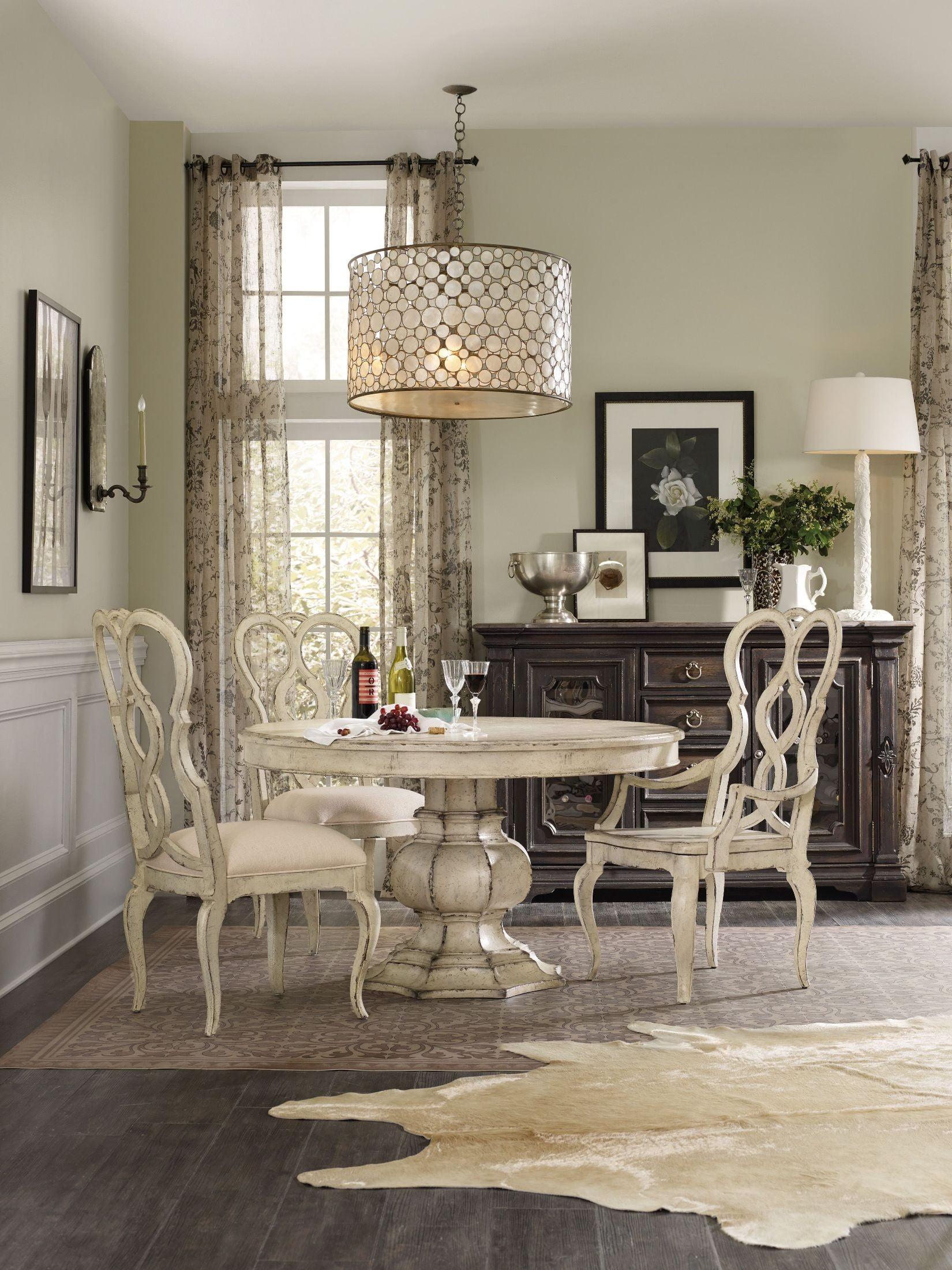 "Auberose Antique White 52"" Round Pedestal Dining Room Set ..."