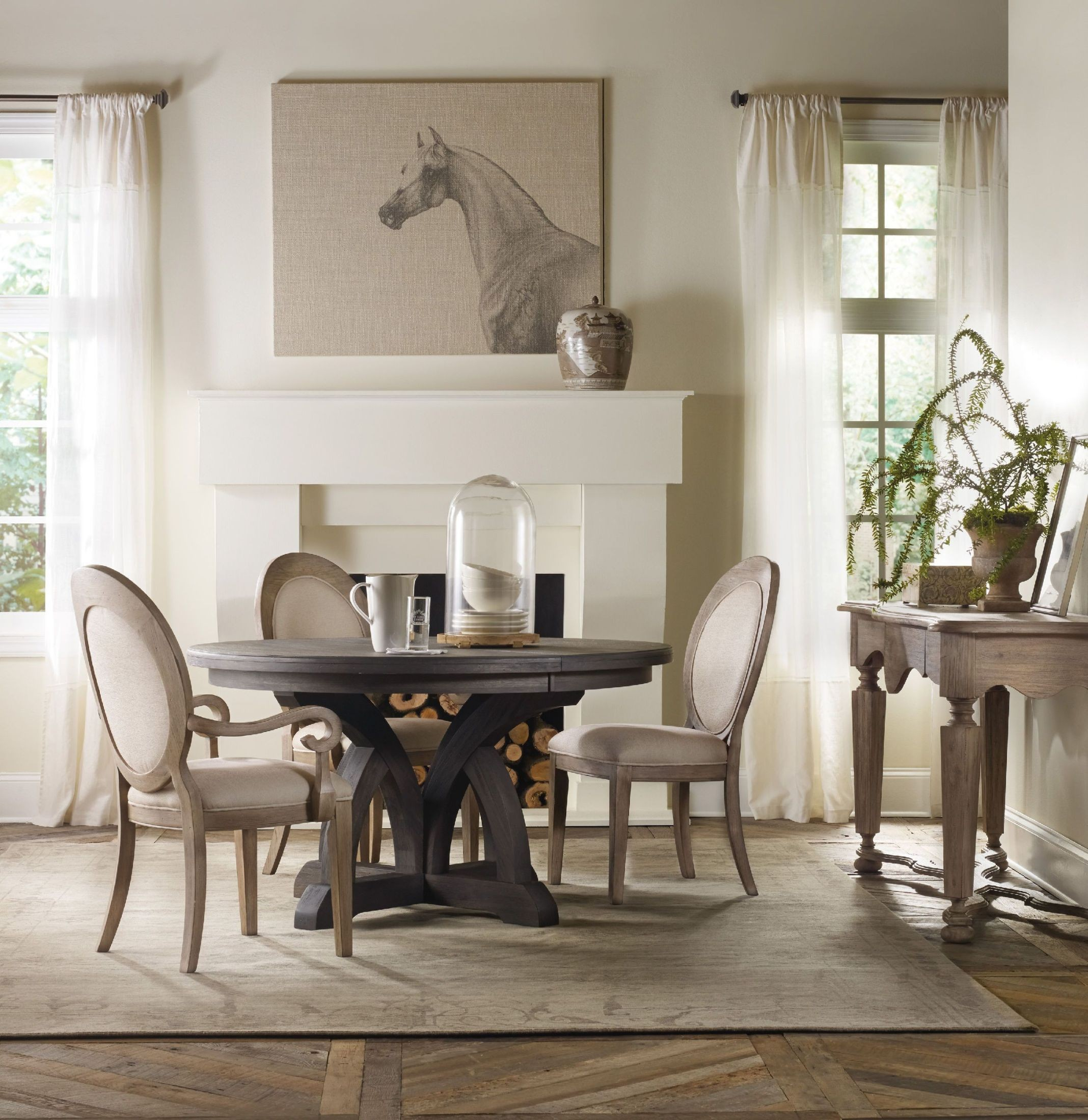 Corsica light wood round extendable dining room set from for Light wood dining room sets