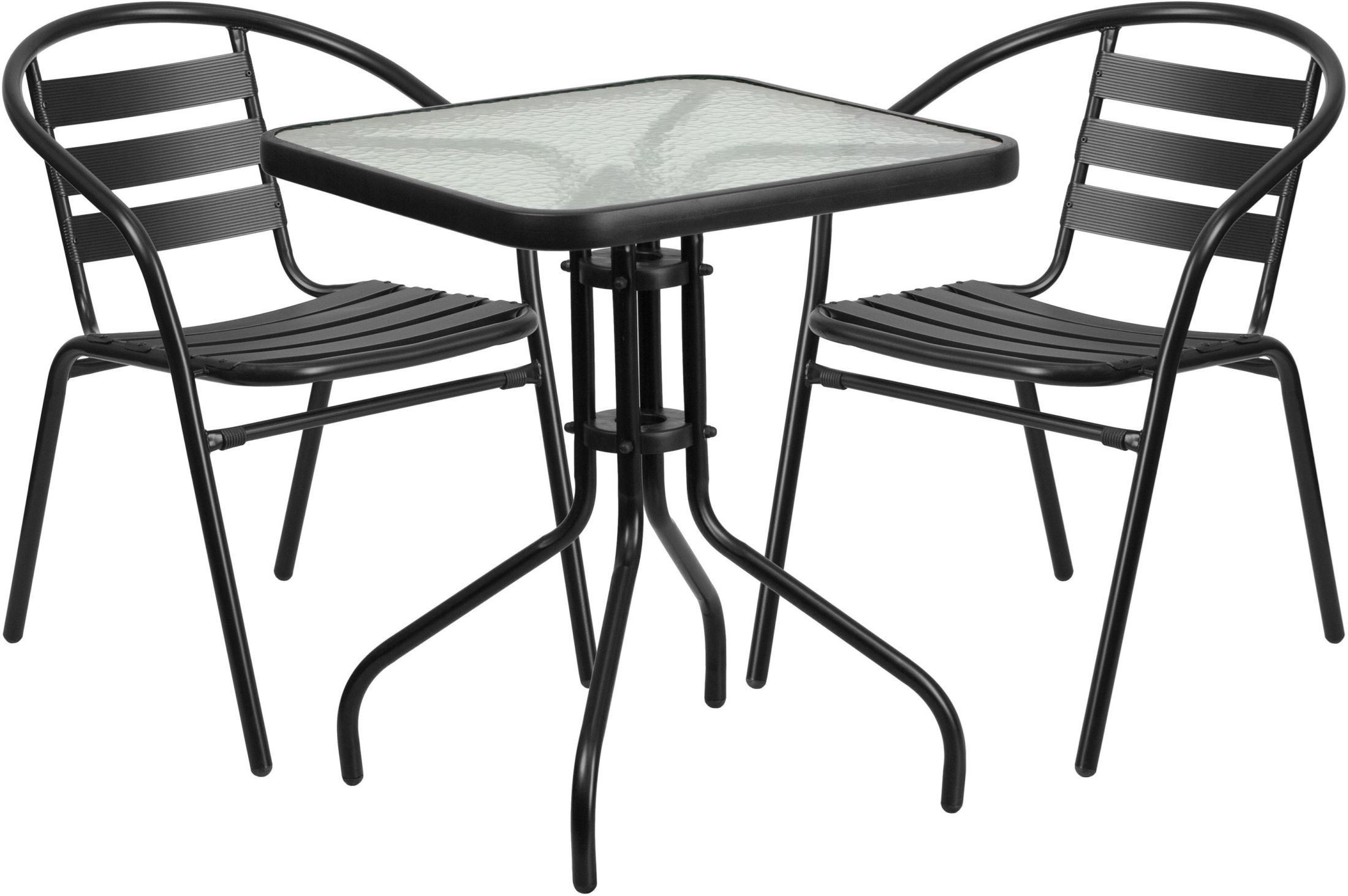 """Square Glass Table Seats 8: 23.5"""" Square Glass Metal Table With 2 Black Metal Aluminum"""