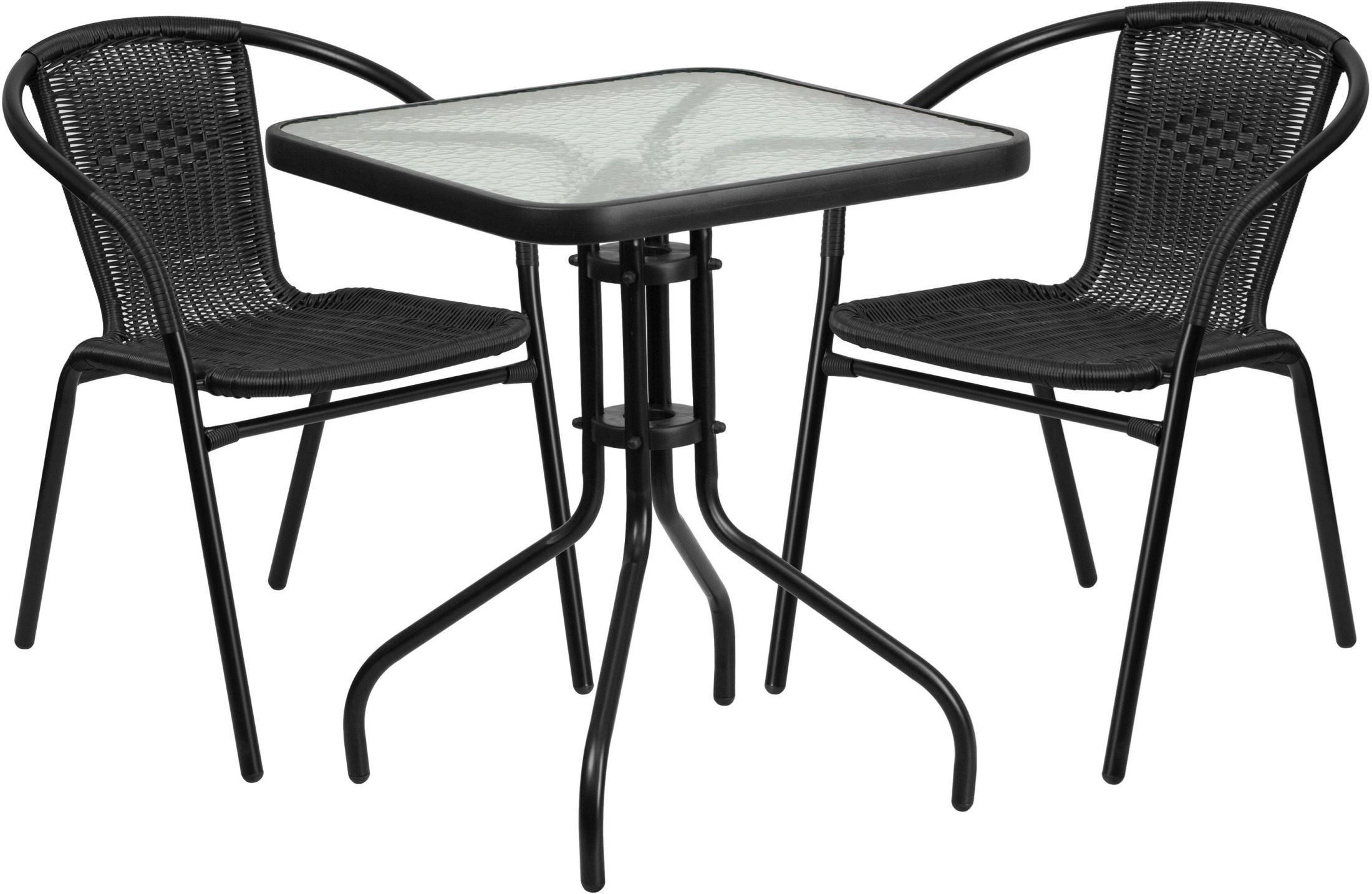 "23.5"" Square Glass Metal Table With 2 Black Rattan Stack"