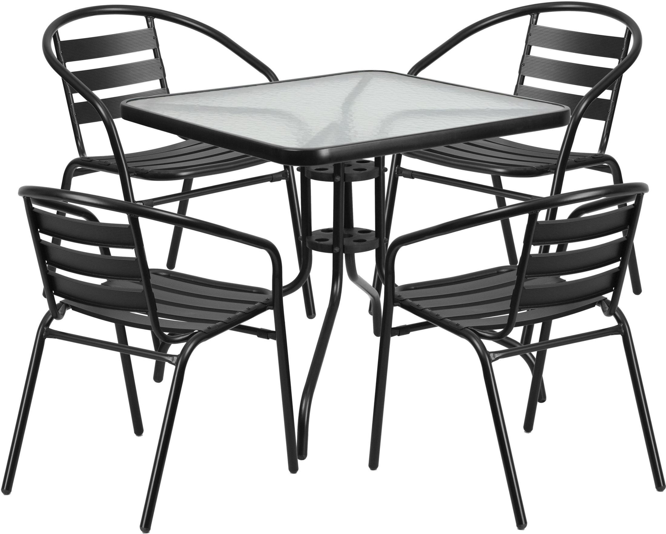 "31.5"" Square Glass Metal Table With 4 Black Metal Aluminum"