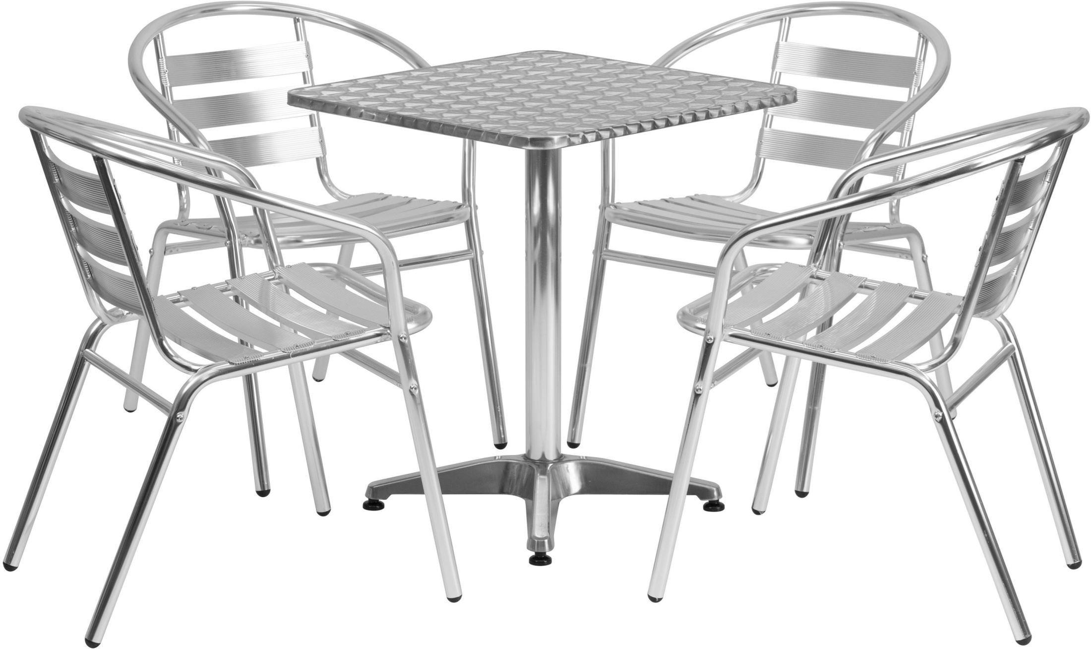 "Square Garden Table And 4 Chairs: 23.5"" Square Aluminum Indoor-Outdoor Table With 4 Slat"