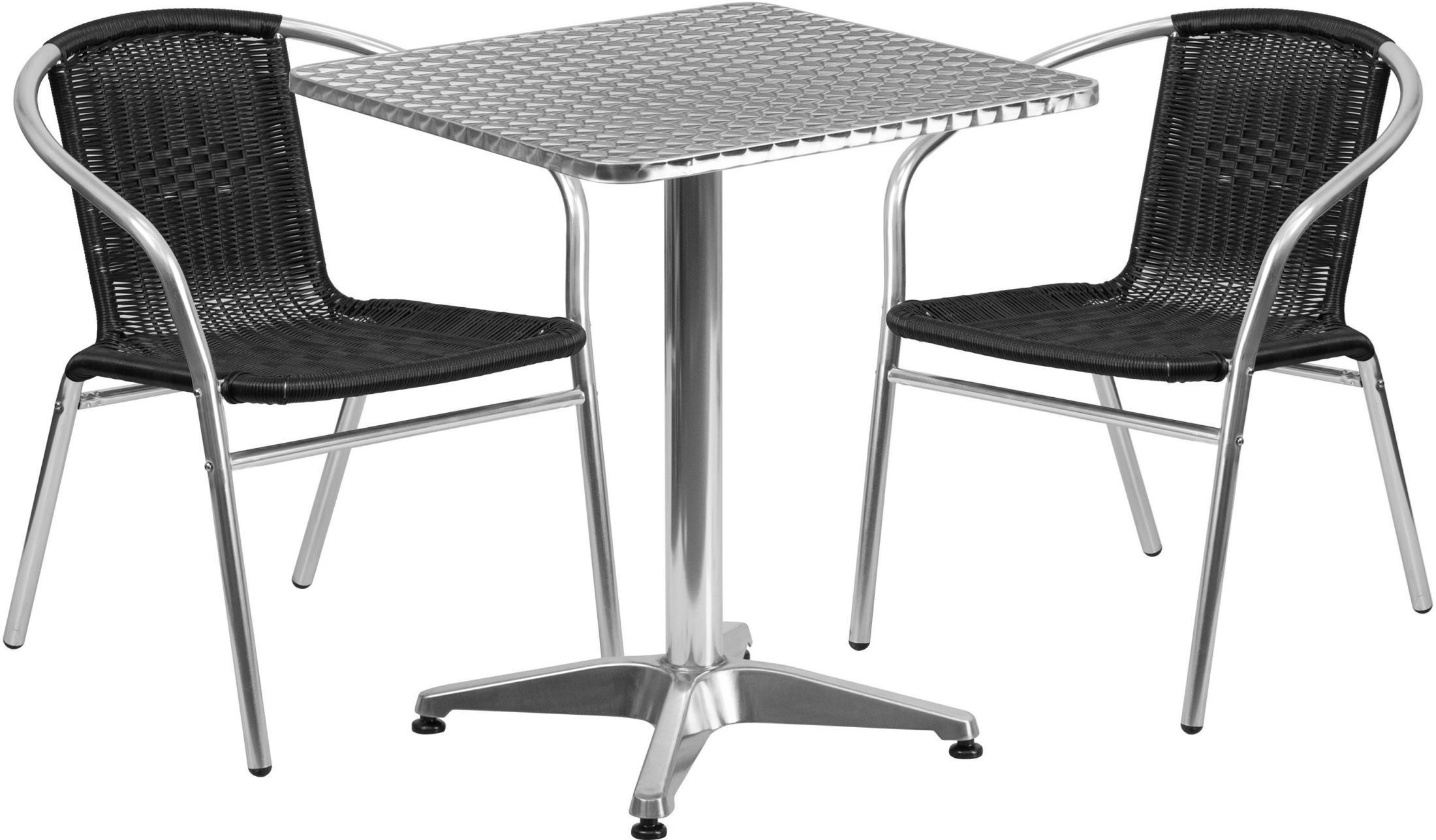 23 5 Square Aluminum Indoor Outdoor Table With 2 Black