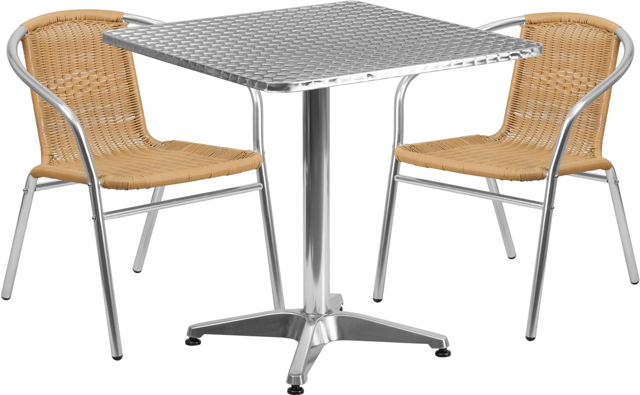 27 5 Square Aluminum Indoor Outdoor Table With 2 Beige