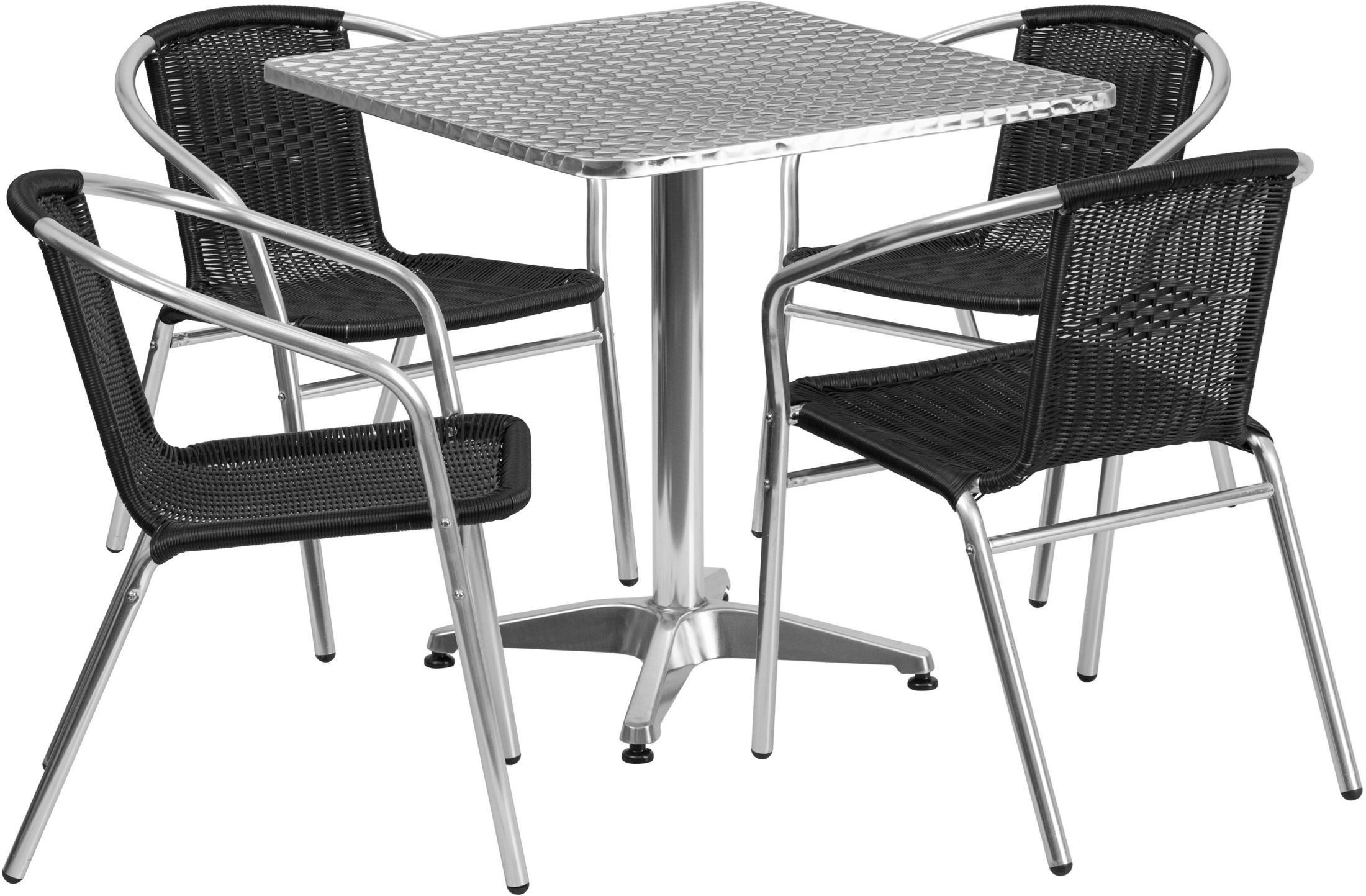 "Square Garden Table And 4 Chairs: 27.5"" Square Aluminum Indoor-Outdoor Table With 4 Black"