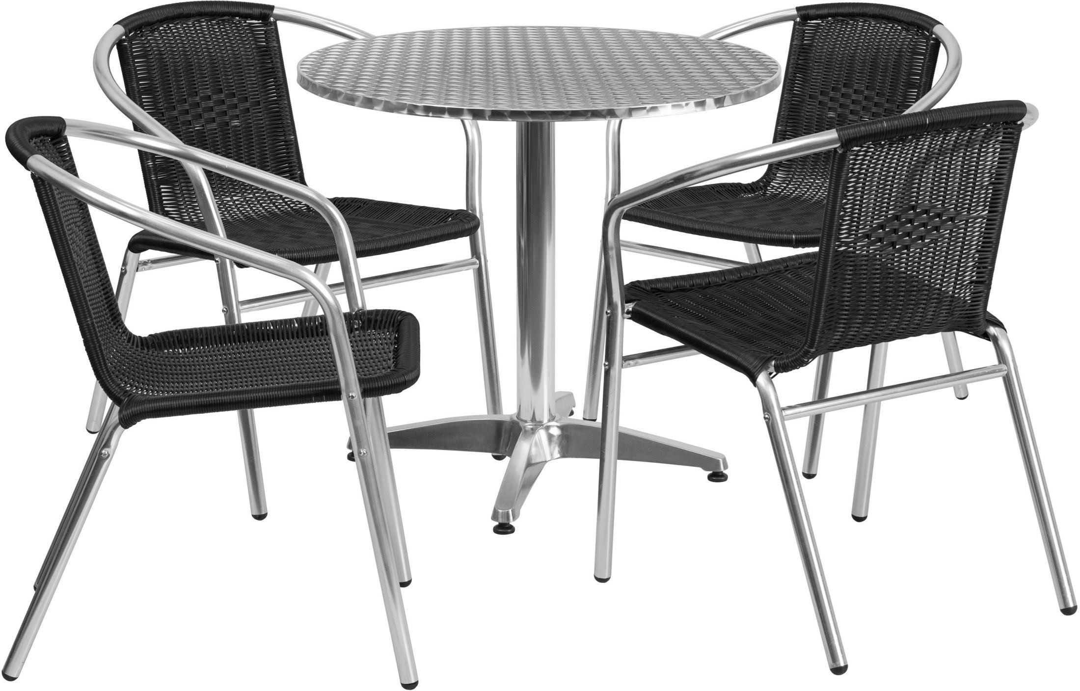 31 5 Round Aluminum Indoor Outdoor Table With 4 Black