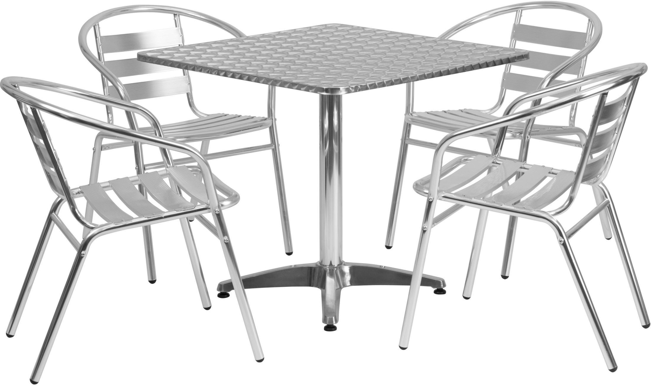 "Square Garden Table And 4 Chairs: 31.5"" Square Aluminum Indoor-Outdoor Table With 4 Slat"