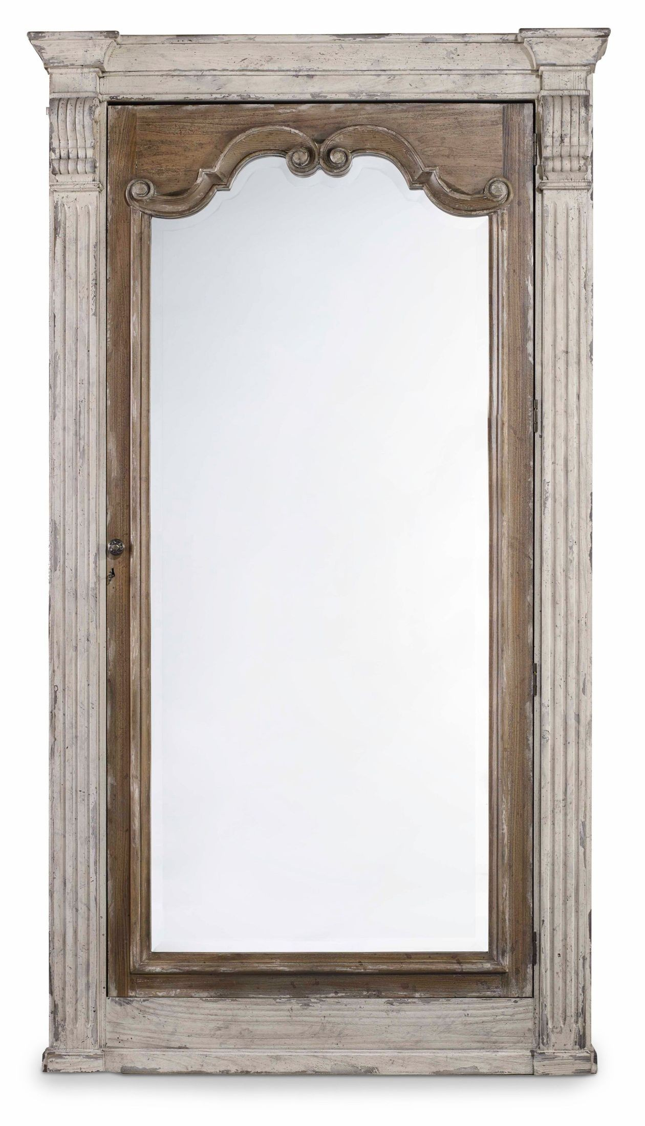 Chatelet Off White Jewelry Armoire Storage Floor Mirror ...
