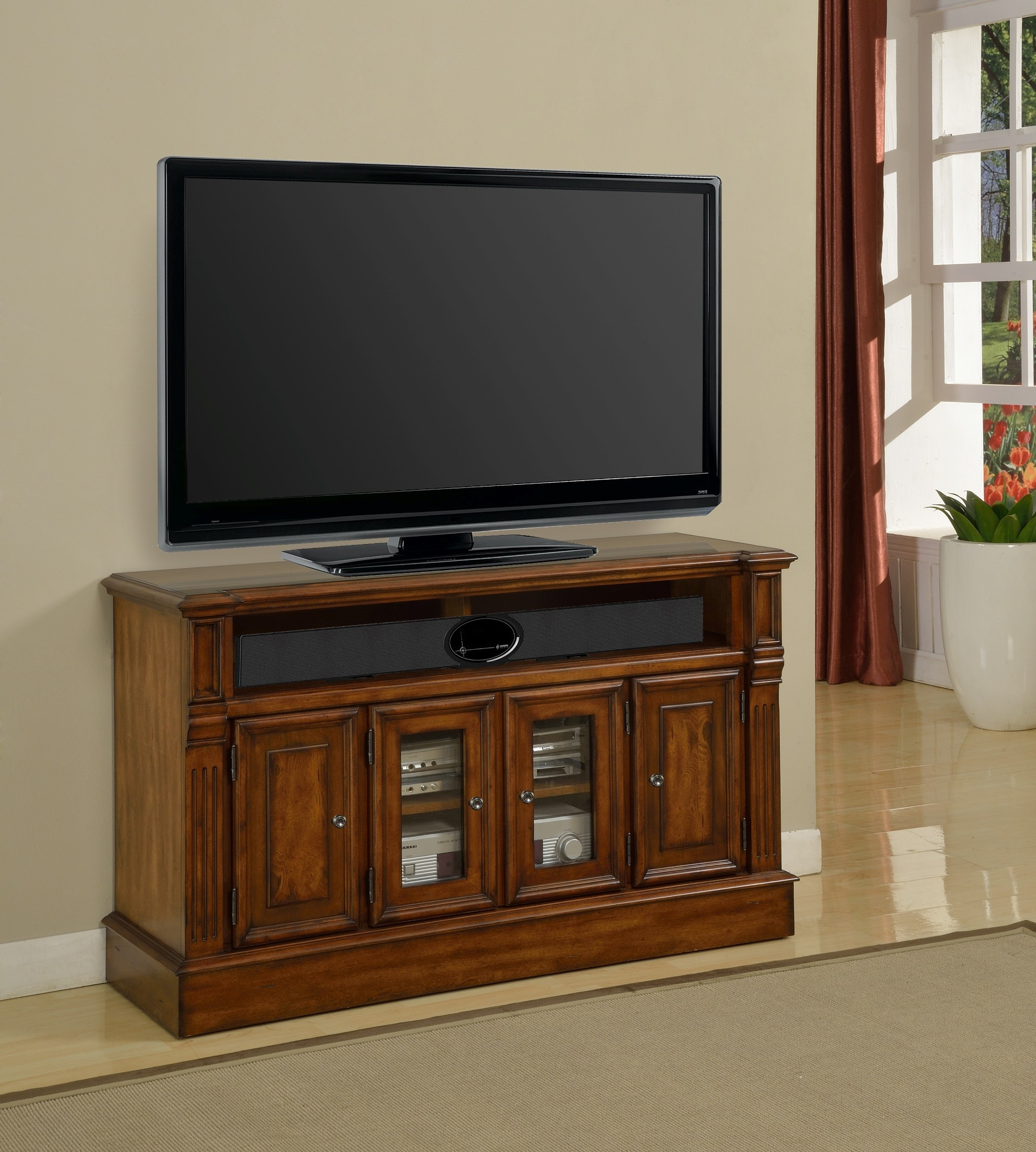Toscano Antique Vintage Dark Chestnut 50 Tv Console From Parker House Tos 50 Coleman Furniture