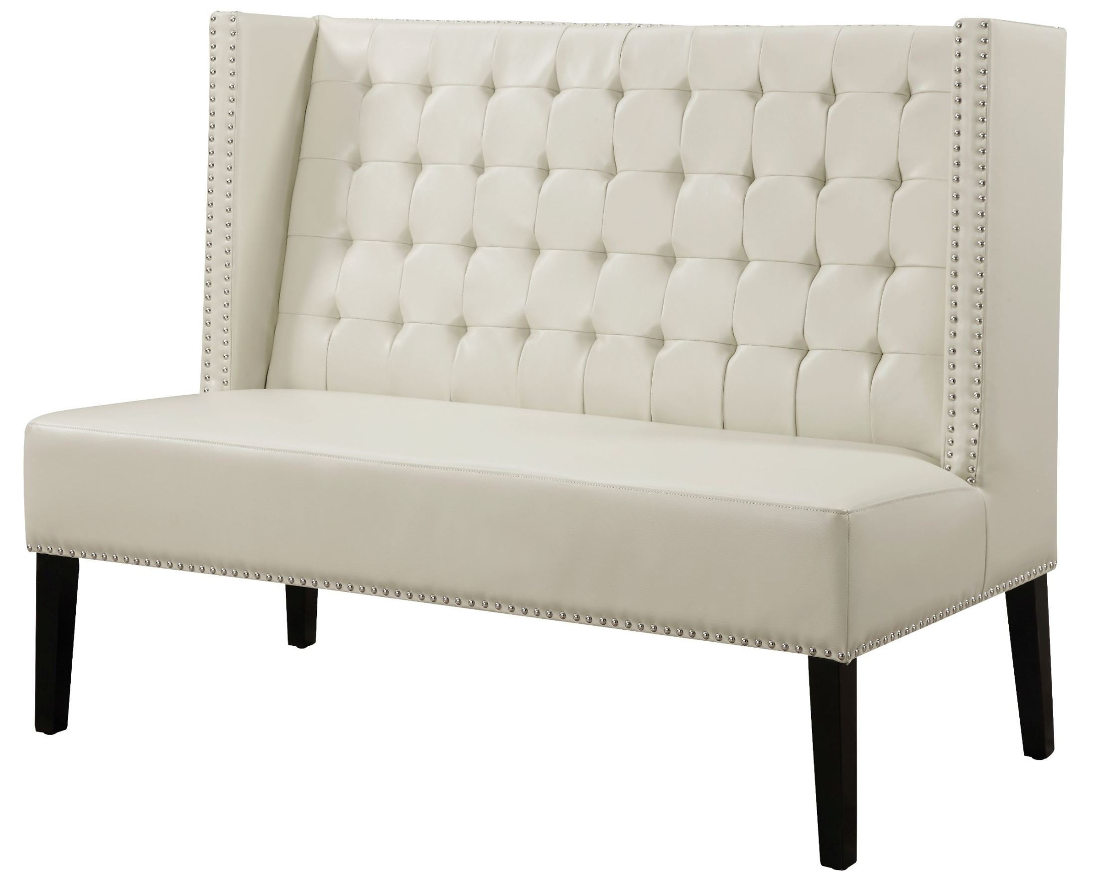Halifax cream leather banquette bench from tov 63115 for Banquette bench