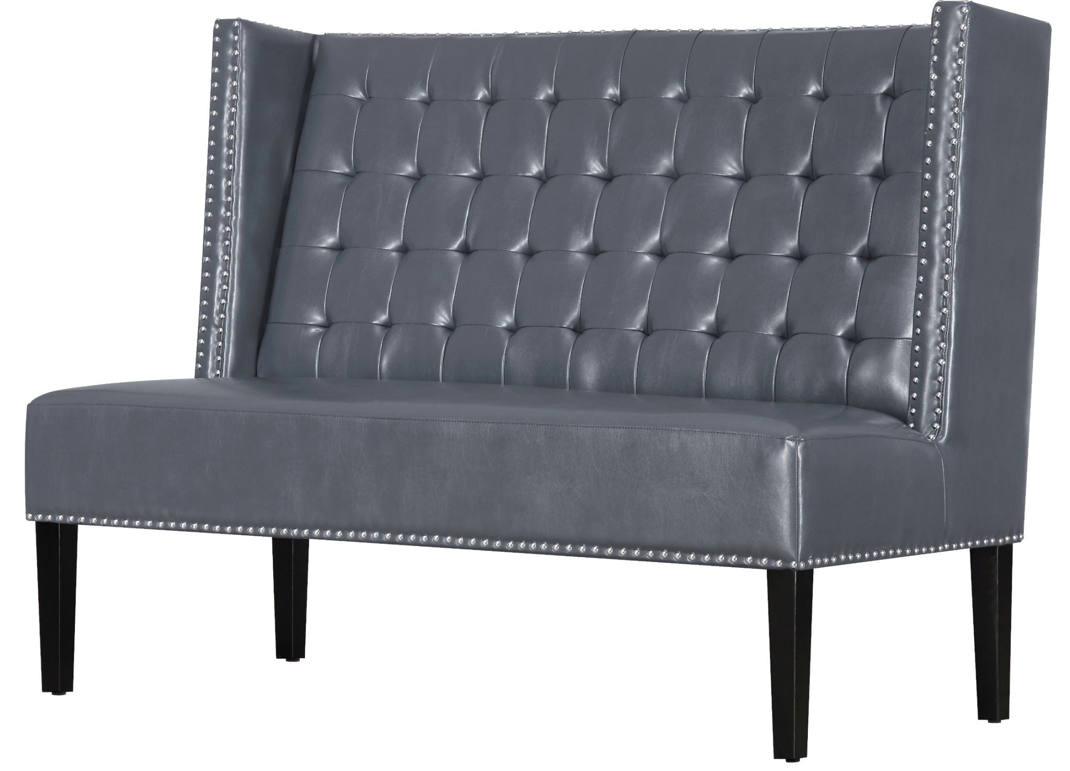 Halifax Gray Leather Banquette Bench From Tov 63116 Gray