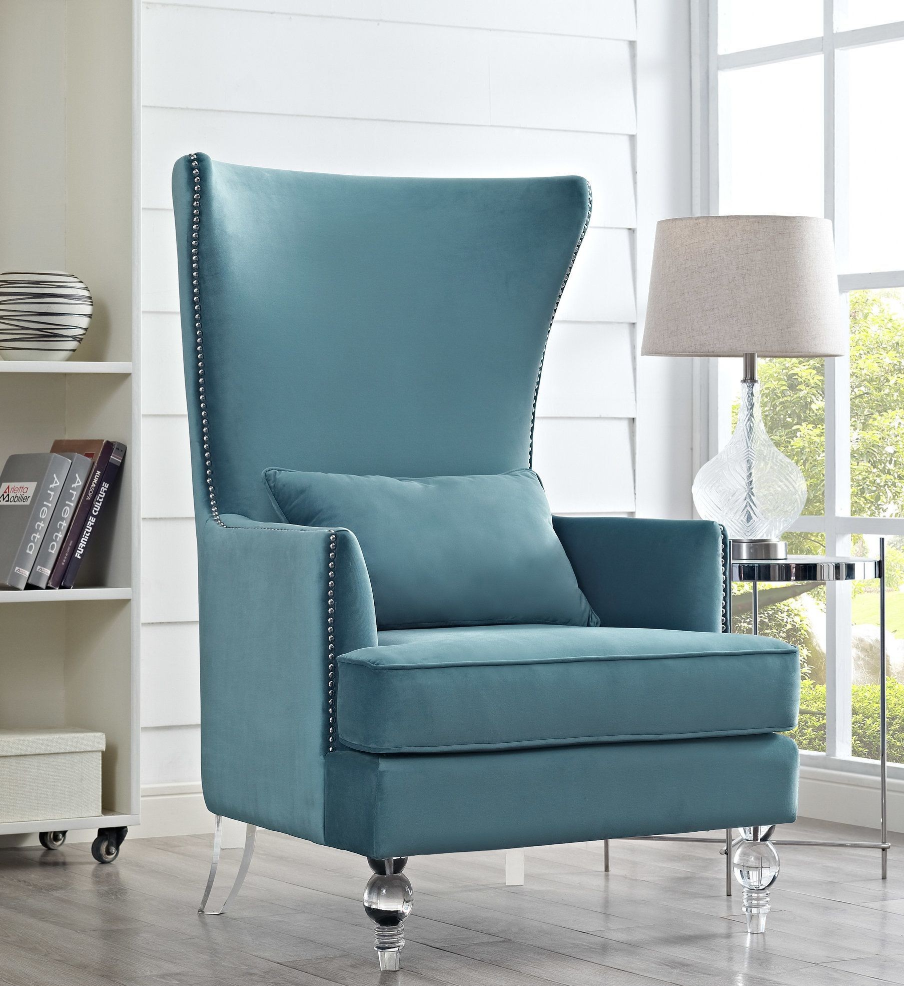 bristol sea blue velvet chair