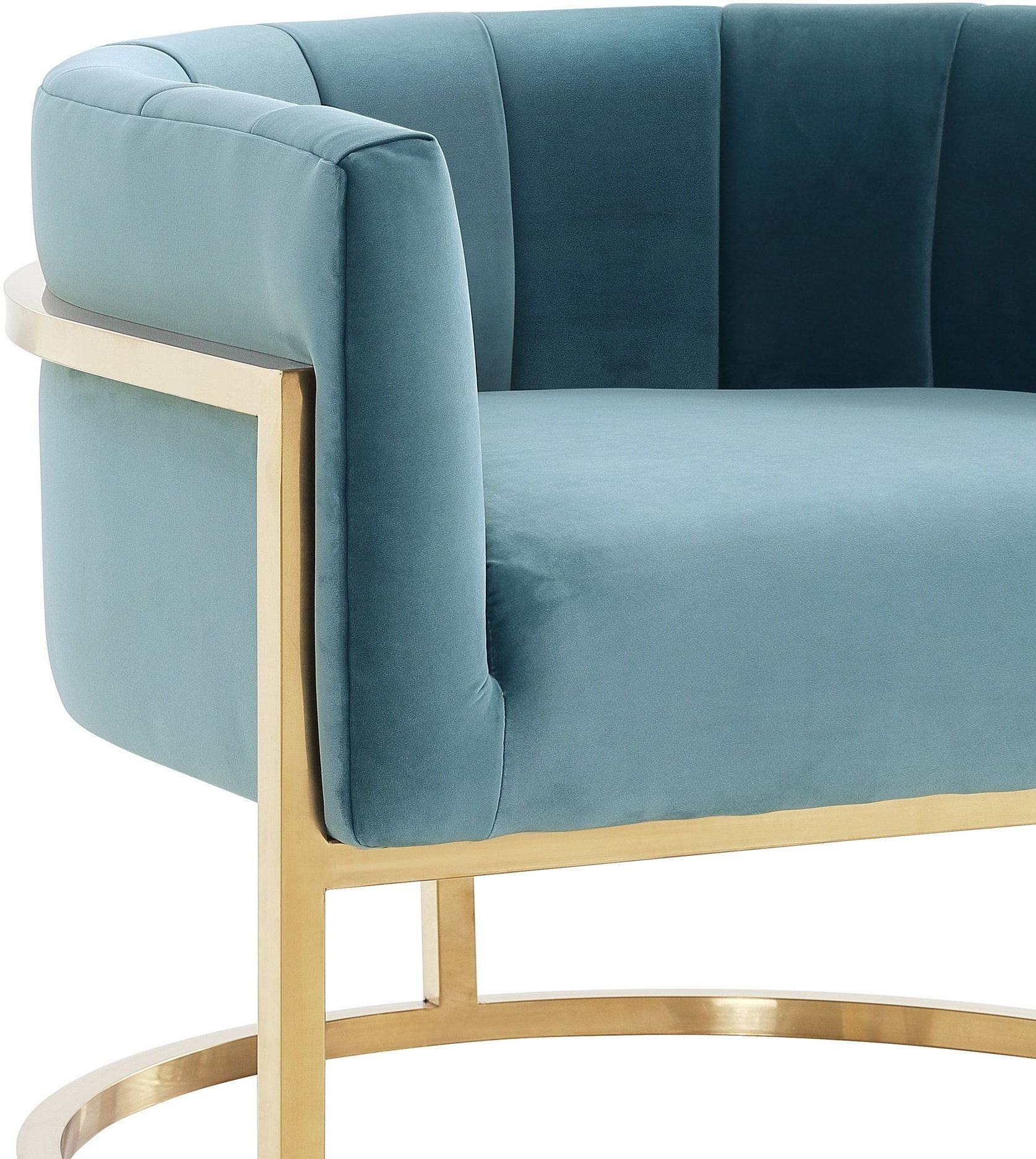 Magnolia Sea Blue and Gold Chair from TOV