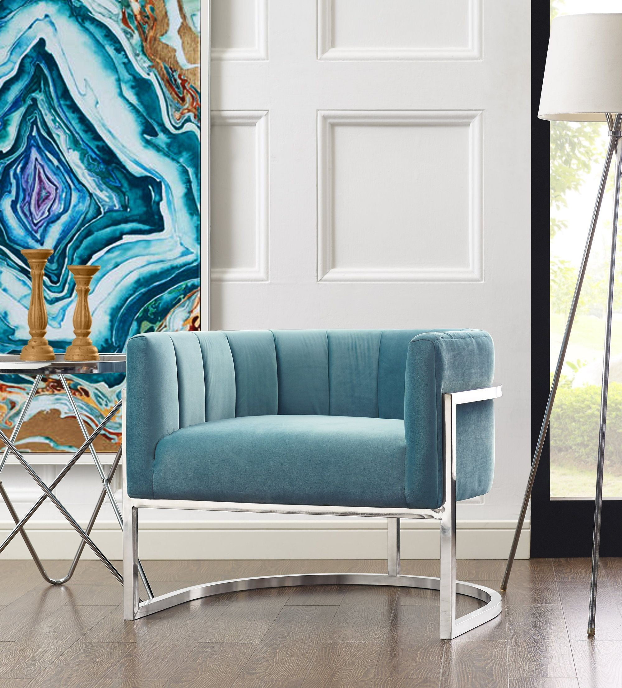 Magnolia Sea Blue Chair with Silver Base from TOV | Coleman Furniture