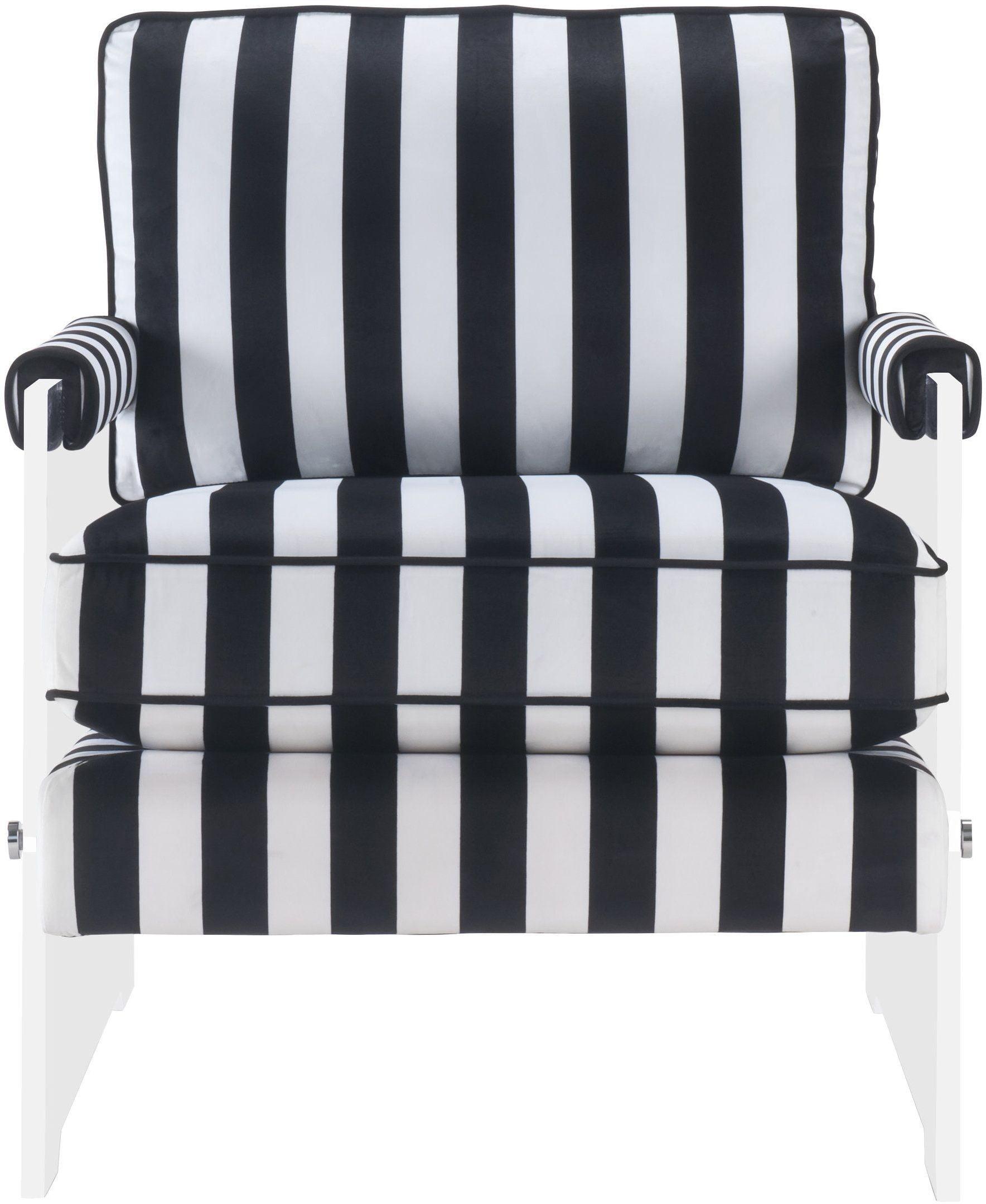 Serena Black and White Velvet Lucite Chair from TOV