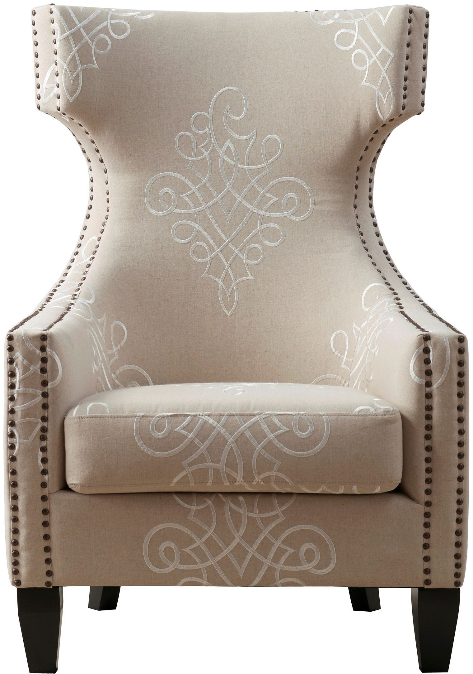 gramercy embroidered linen wing chair from tov tov a36