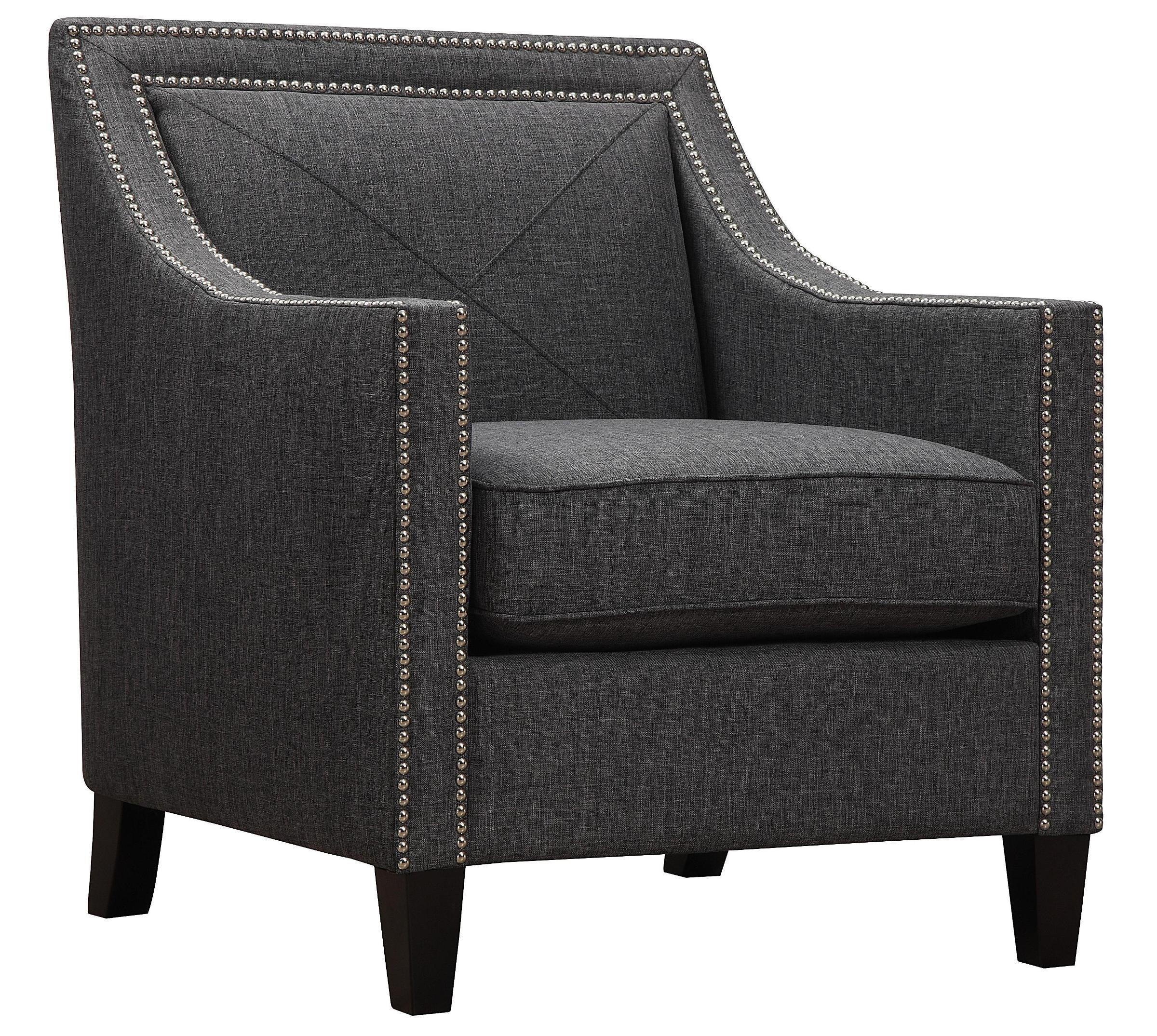 Asheville Dark Grey Linen Chair From TOV (A51)