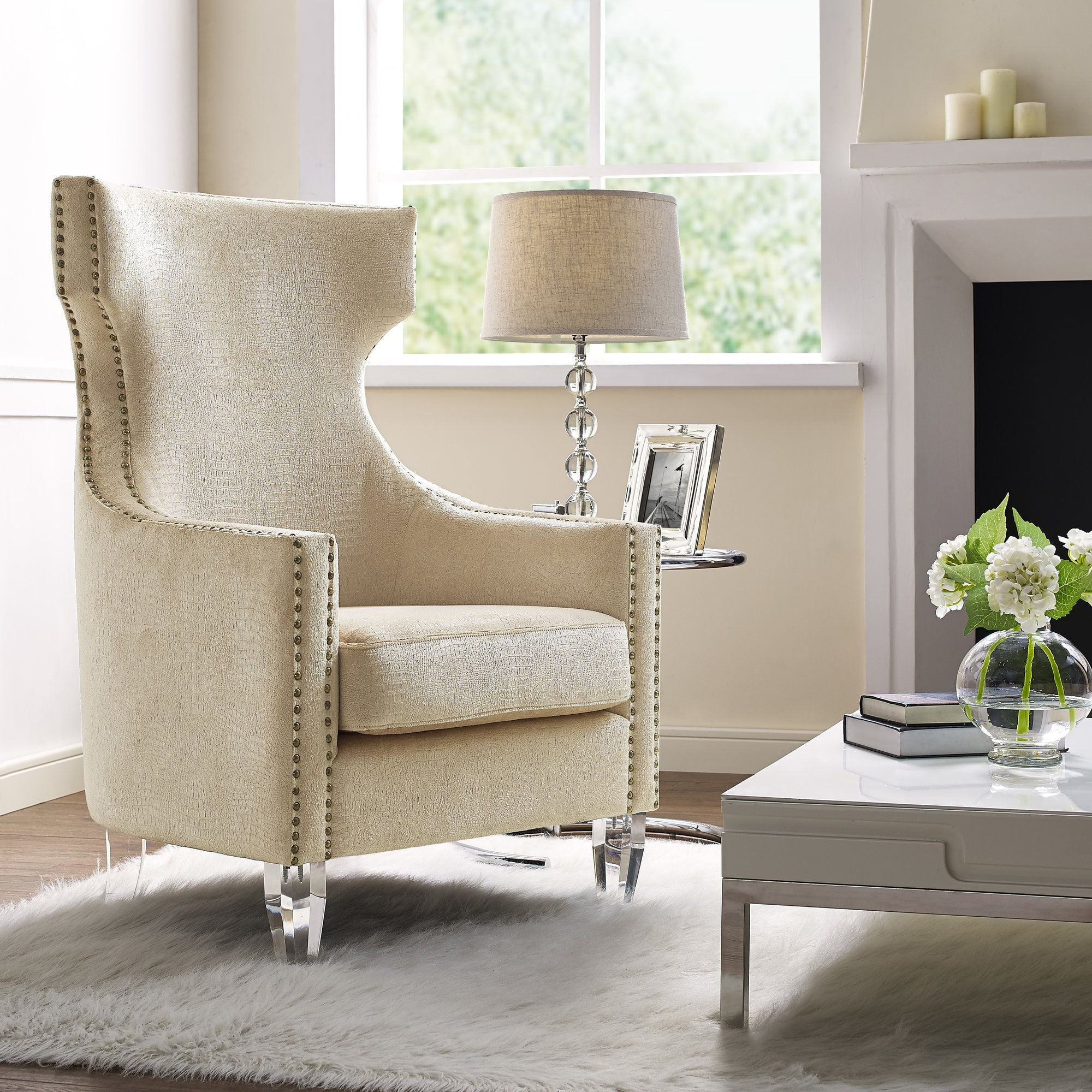Gramercy Gold Croc Velvet Wing Chair from TOV (TOV-A76) | Coleman ...