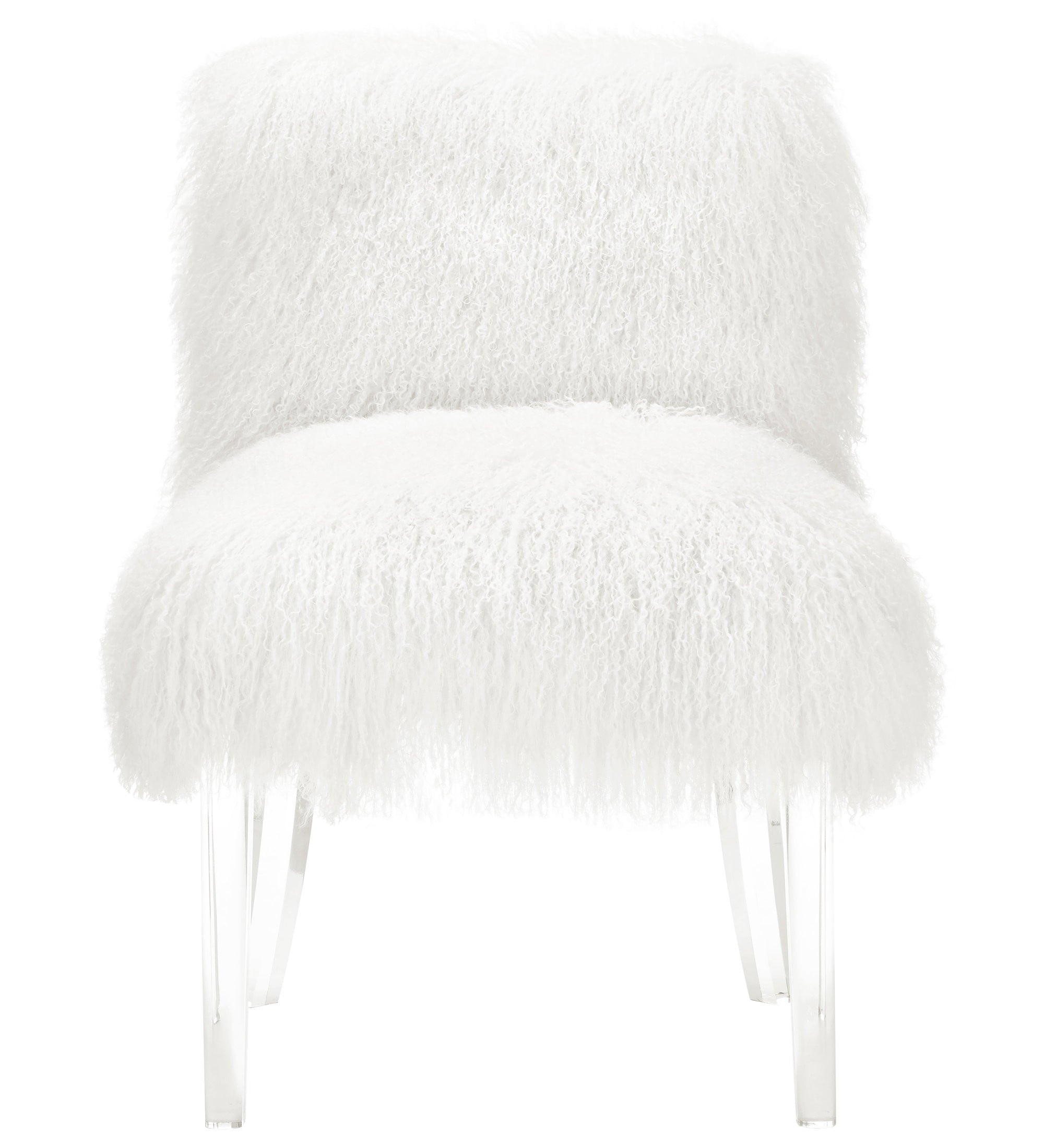 Sophie White Sheepskin Lucite Chair From Tov Tov A75