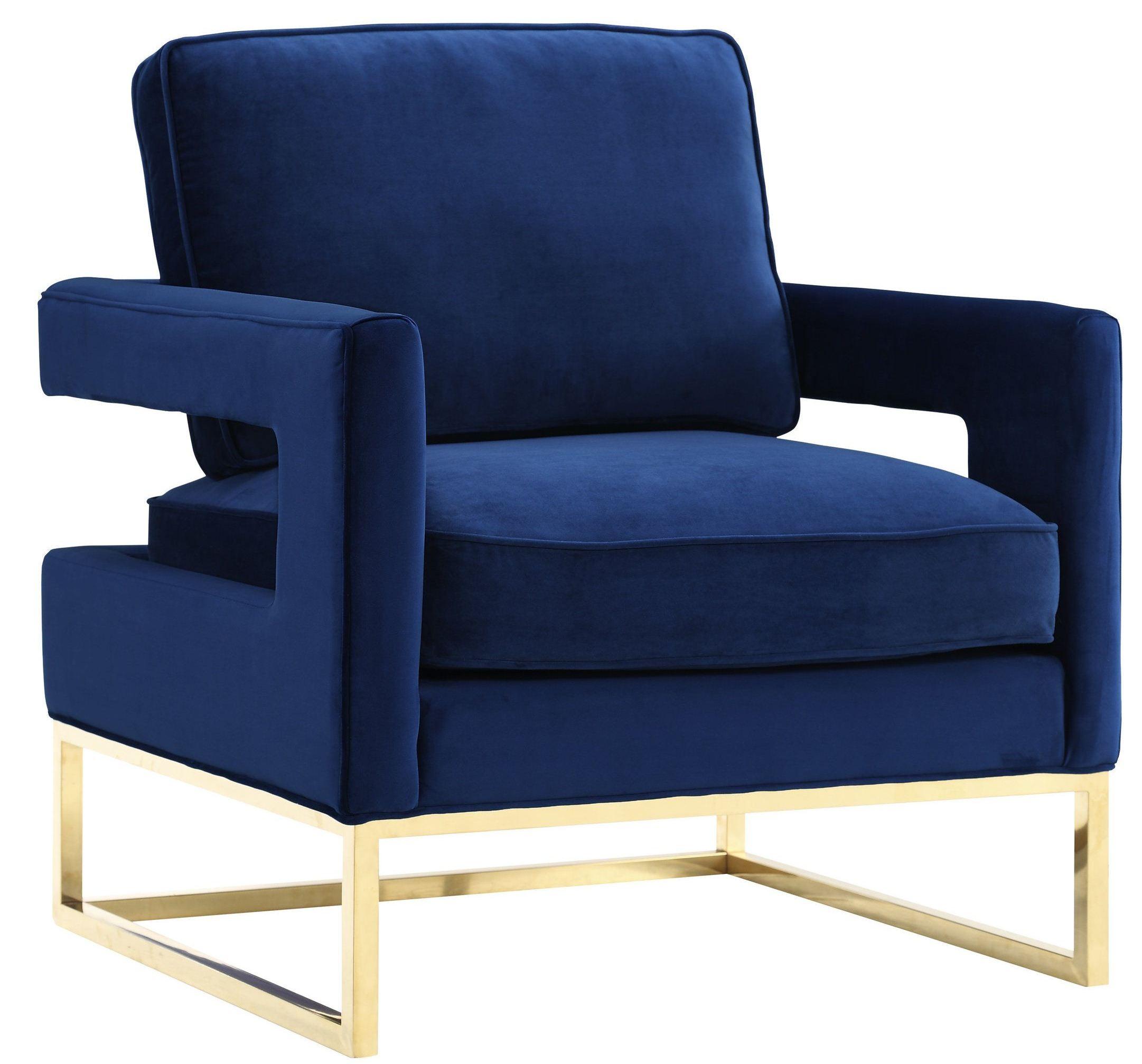 Avery Navy Velvet Chair from TOV