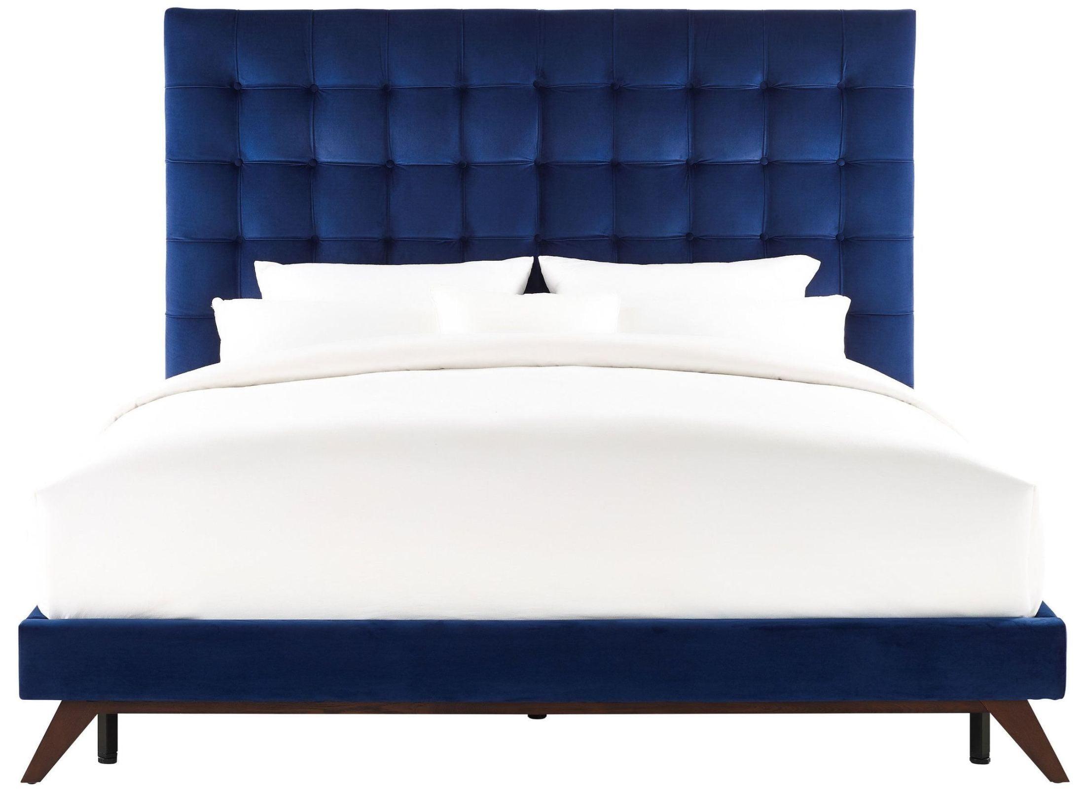 Eden Navy Velvet King Platform Bed From Tov Coleman