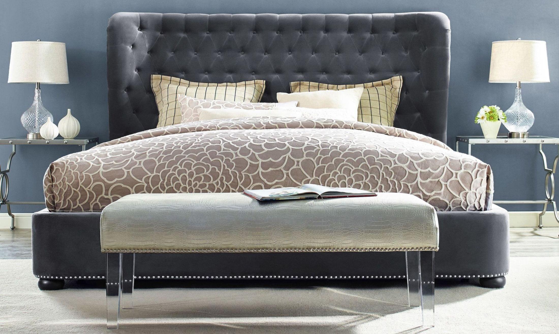 Tov Furniture Finley Grey Velvet Queen Bed