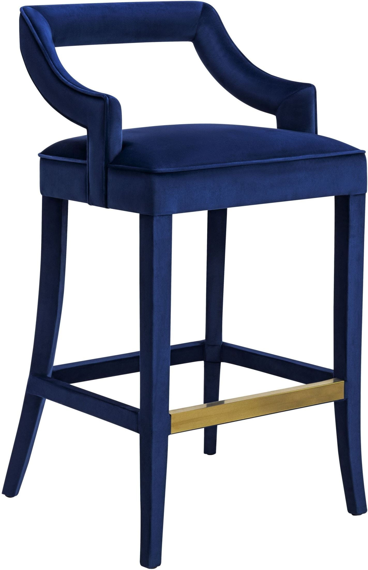 Tiffany Navy Velvet Counter Stool Set of 2 from TOV