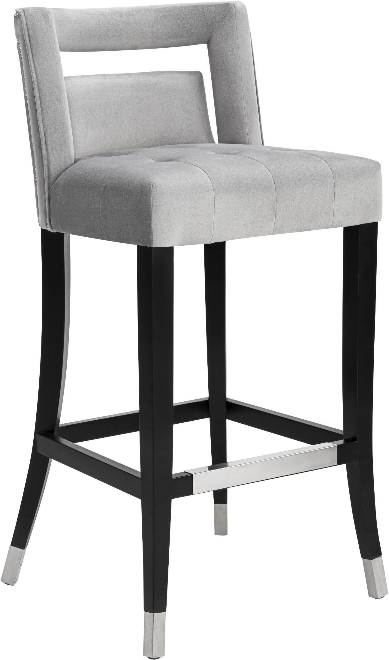 Hart Grey Velvet Bar Stool From Tov Coleman Furniture
