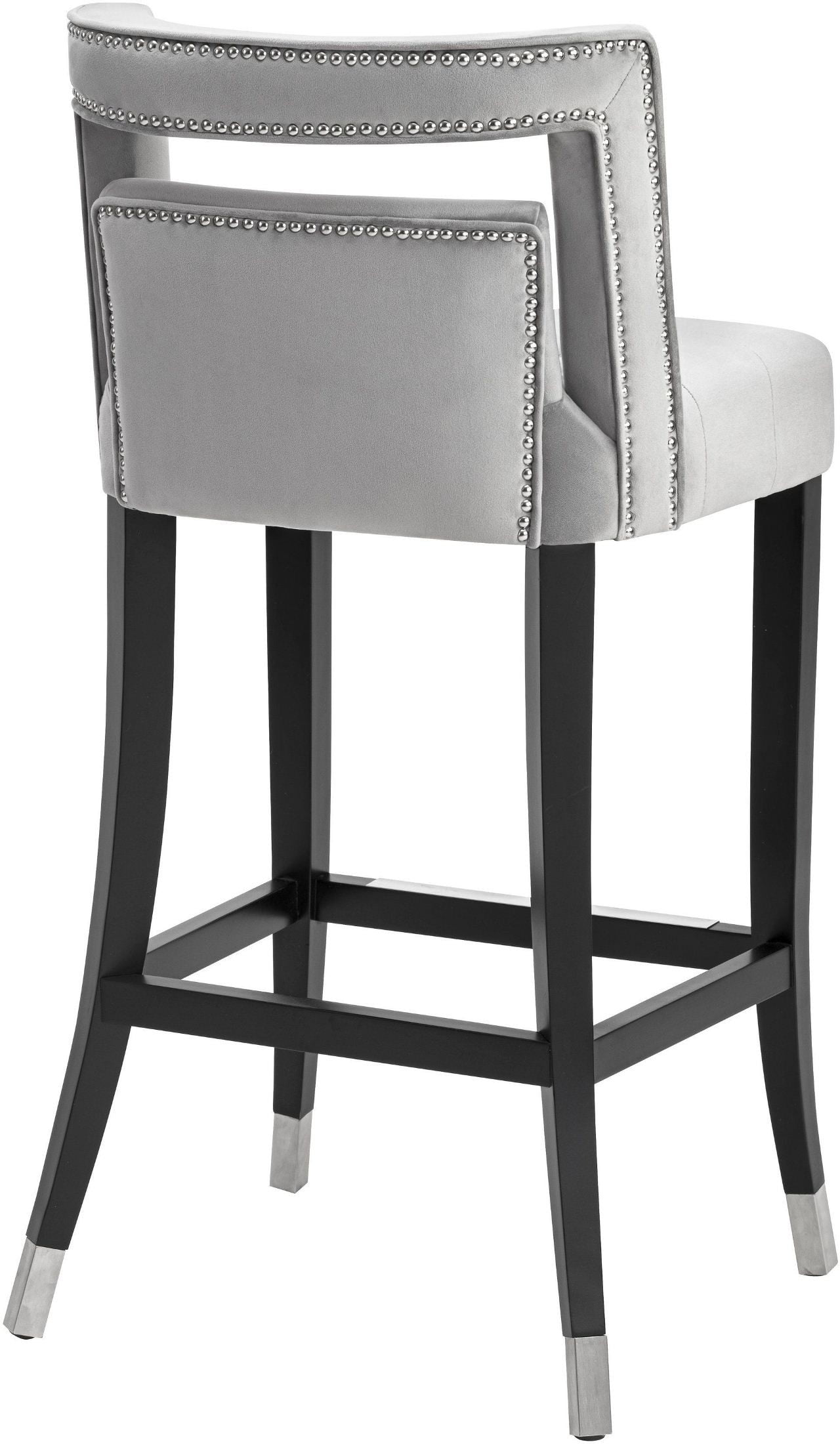 Hart Grey Velvet Bar Stool from TOV