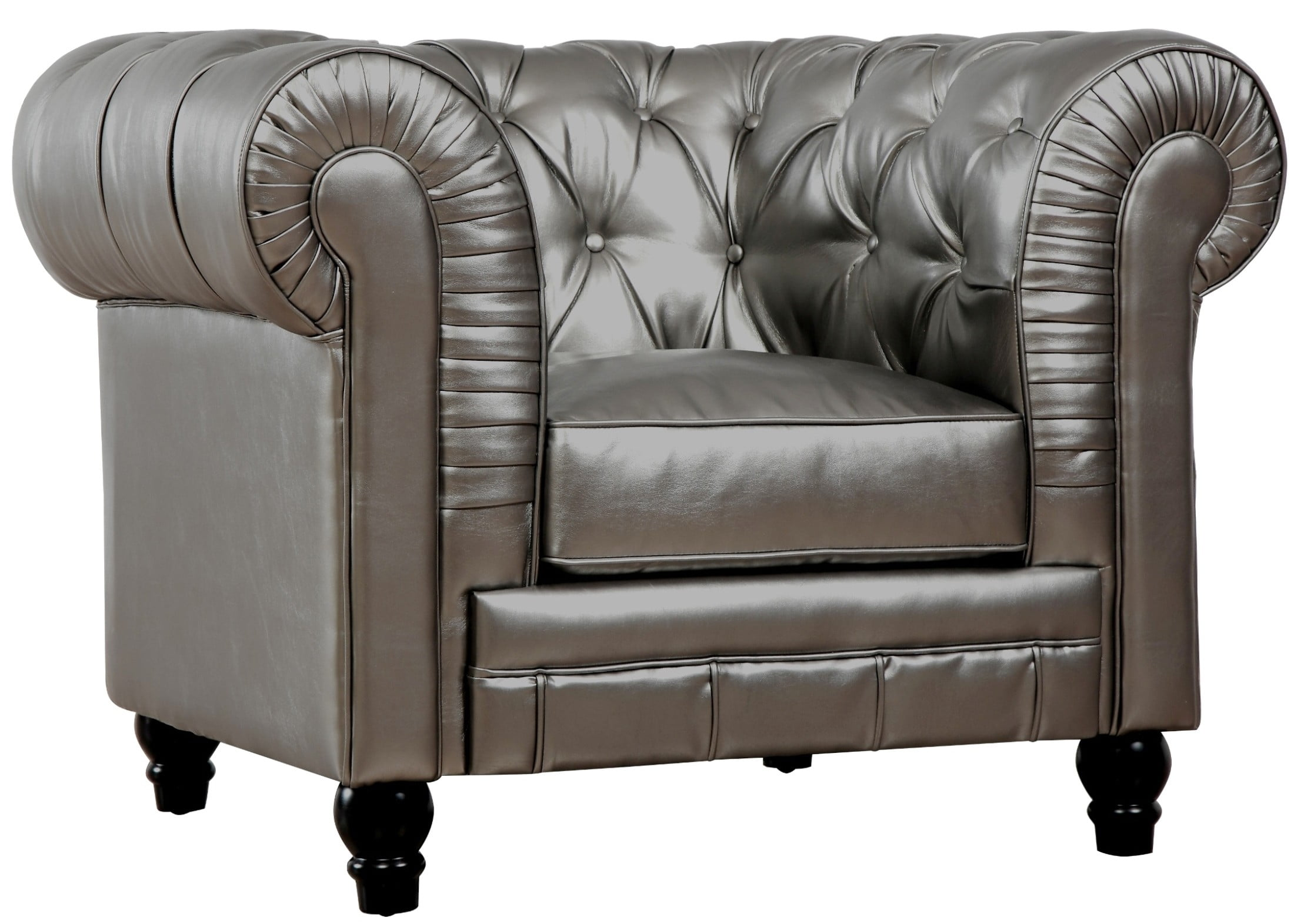 Zahara Silver Leather Club Chair from TOV (TOV-C40 ...