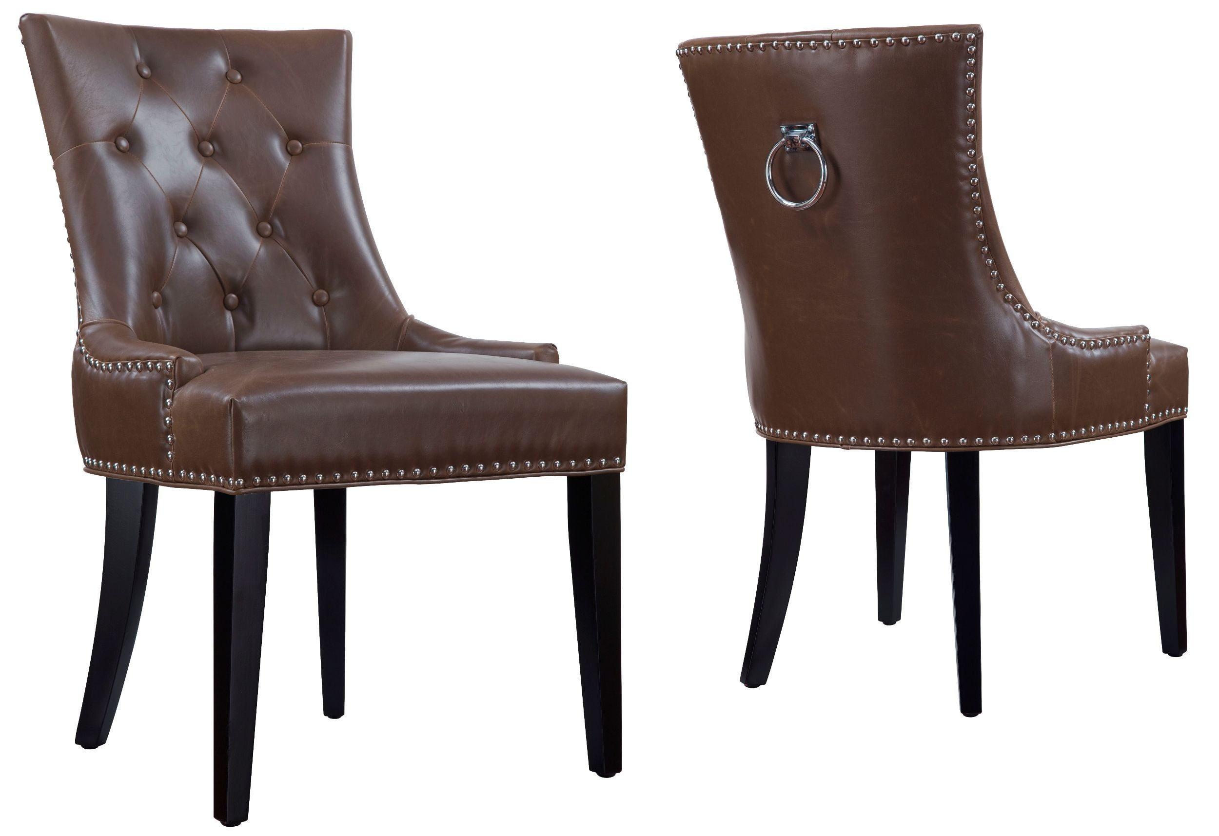 Uptown antique brown leather dining chair set of 2 from for Leather seat dining chairs