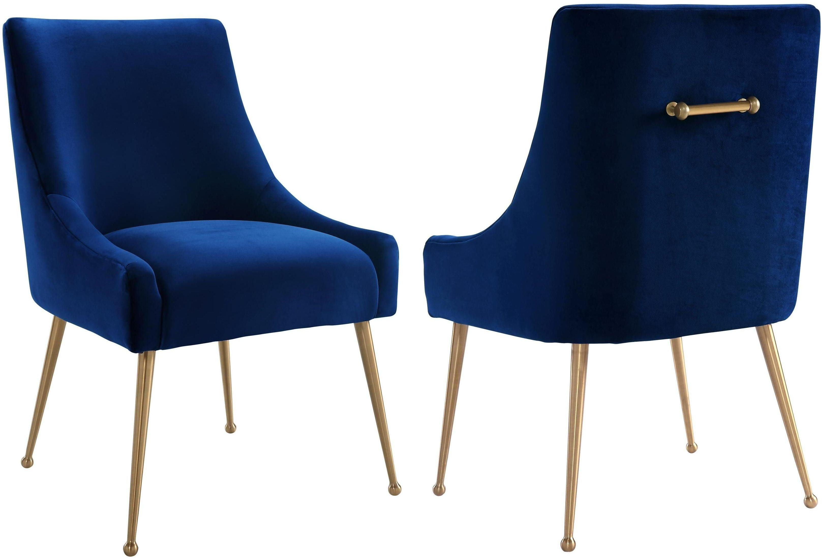 Beatrix Navy Velvet Side Chair from TOV