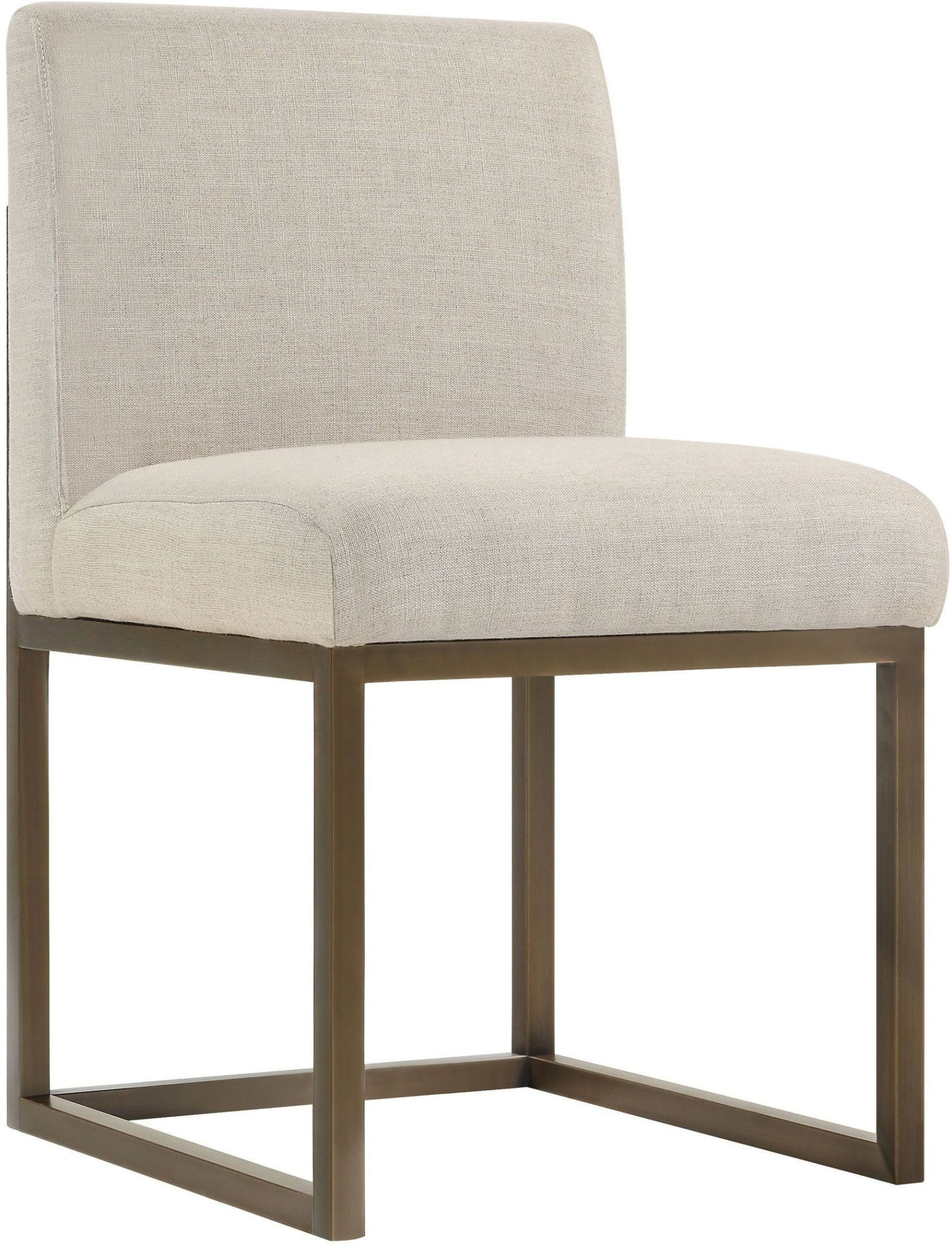 Haute Brass Beige Linen Chair from TOV Furniture D49