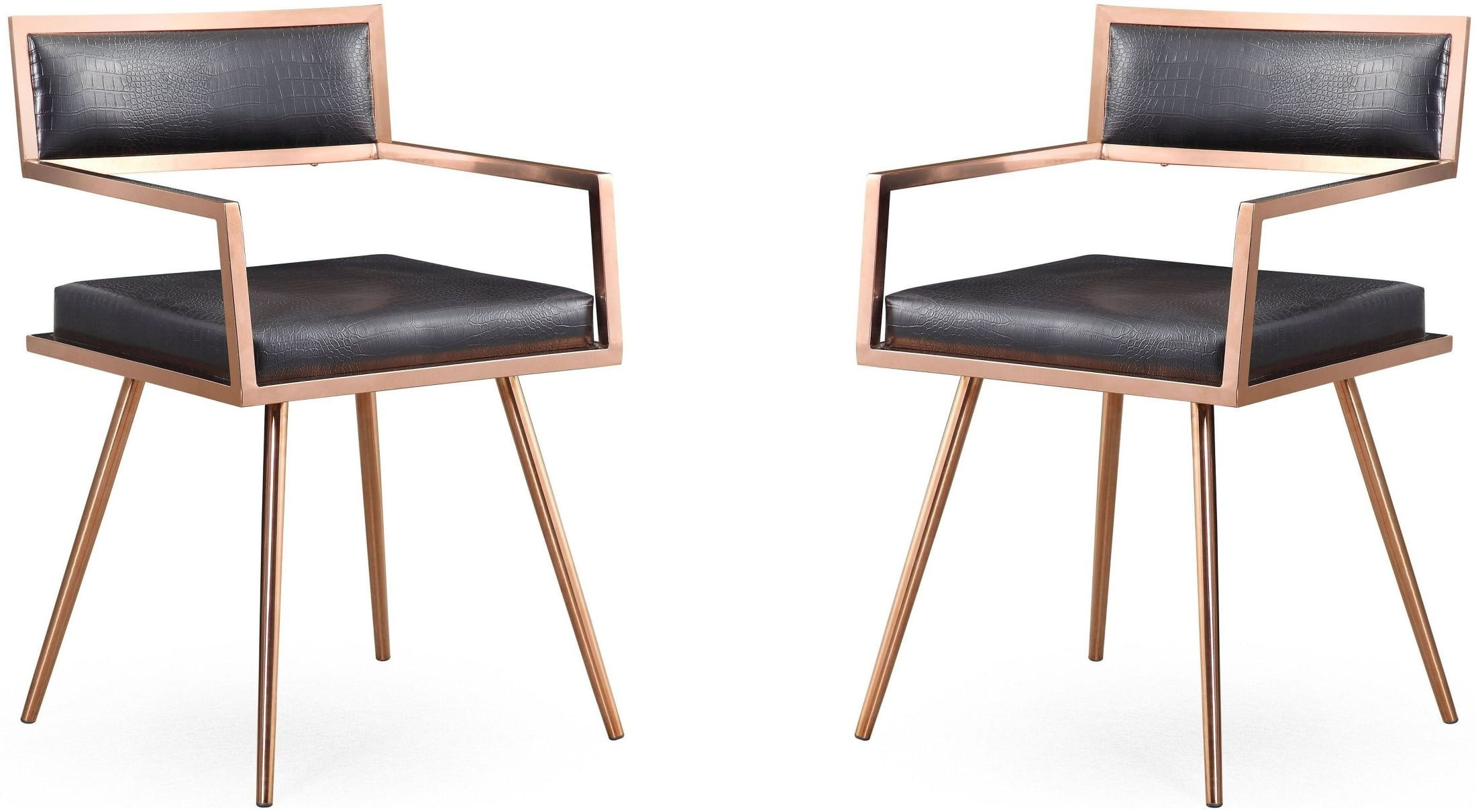 Marquee Black Croc Arm Chair Set Of 2 From Tov Coleman