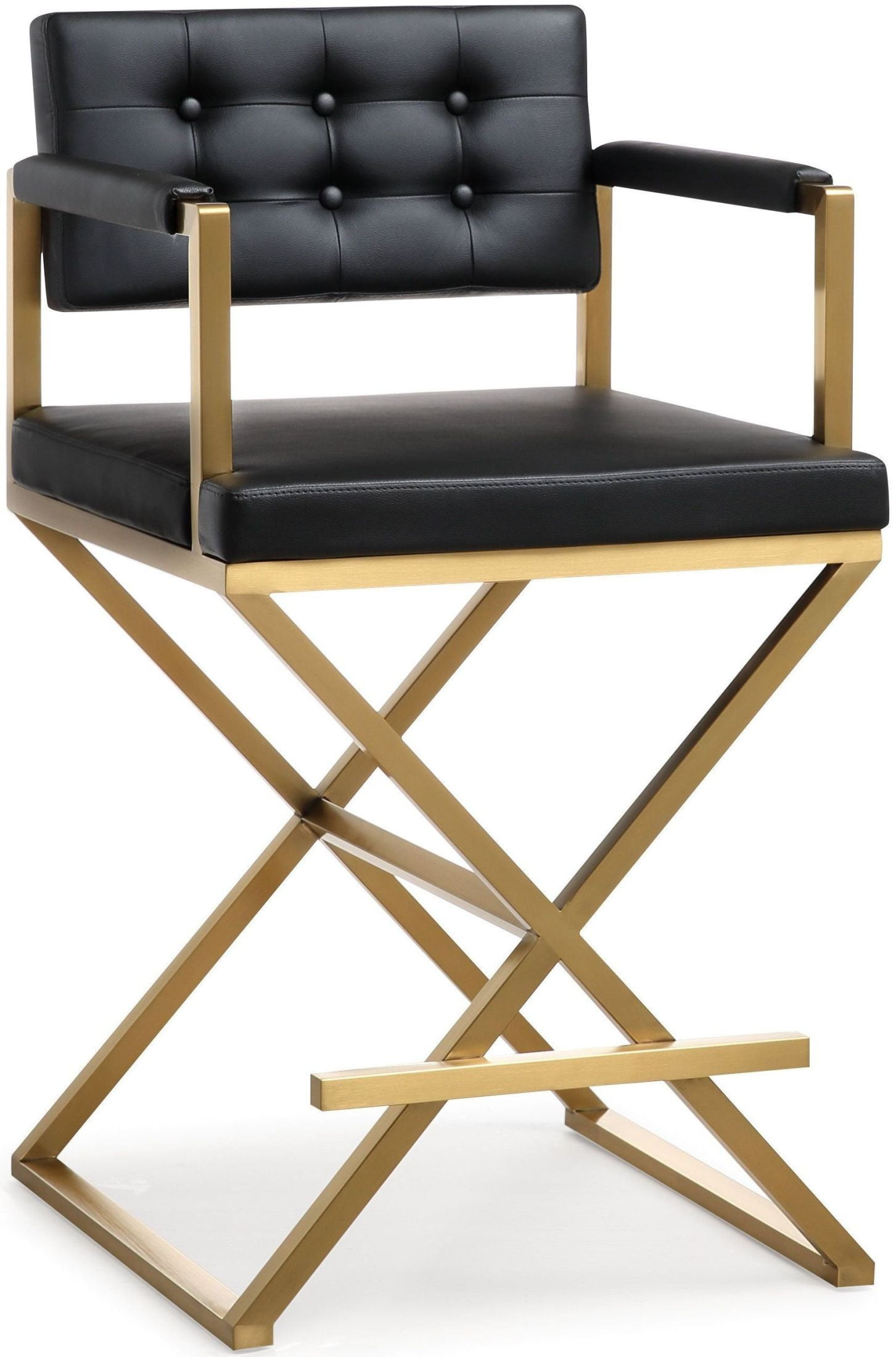 Director Black Gold Steel Counter Stool From Tov Furniture