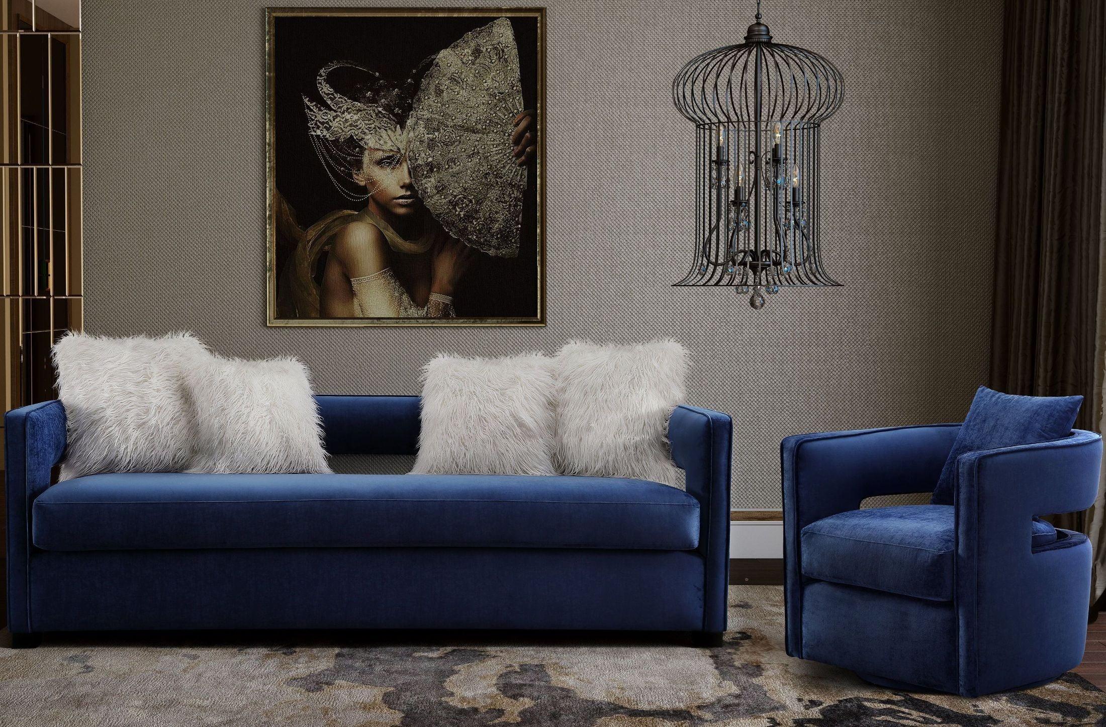 Kennedy navy velvet living room set from tov furniture for Living room ideas velvet