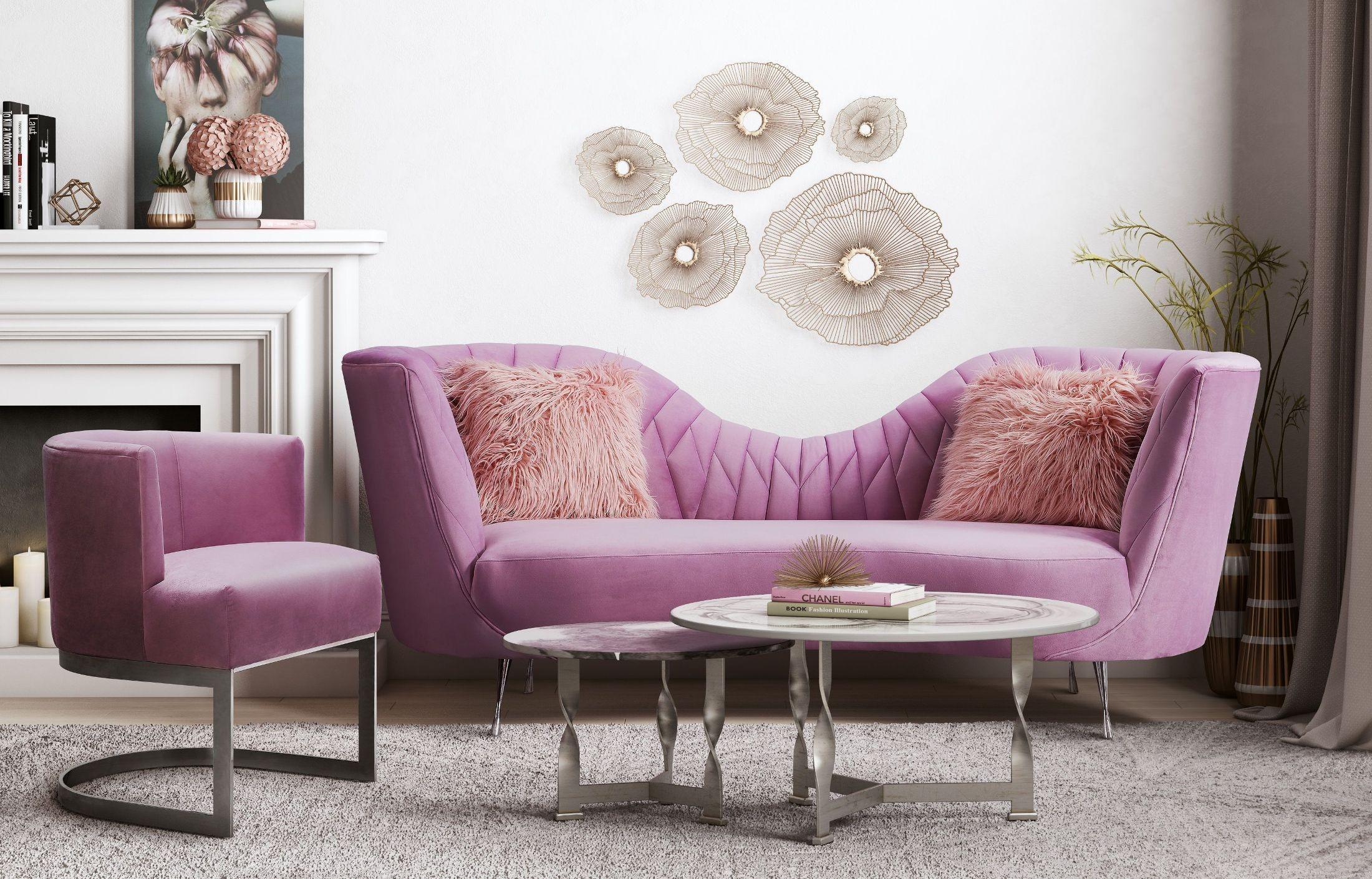 eva blush velvet living room set from tov furniture coleman furniture. Black Bedroom Furniture Sets. Home Design Ideas