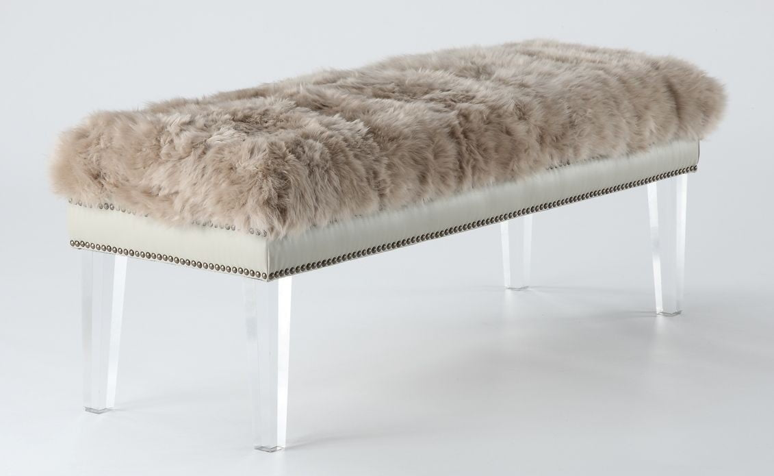 Luxe brown sheepskin lucite bench from tov tov o24 for How to make lucite furniture