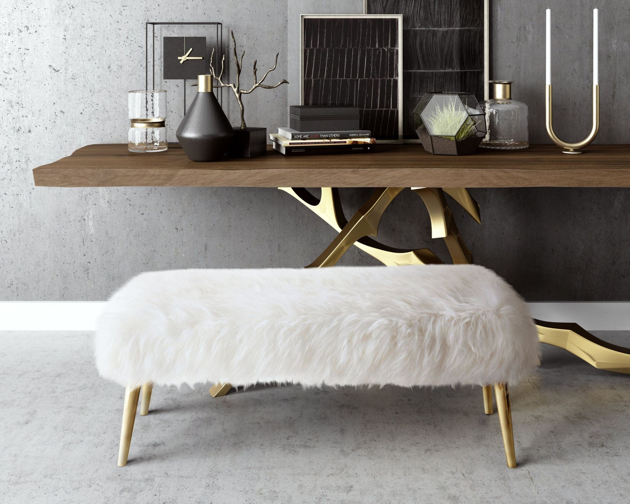 Churra White Sheepskin Bench From Tov Coleman Furniture