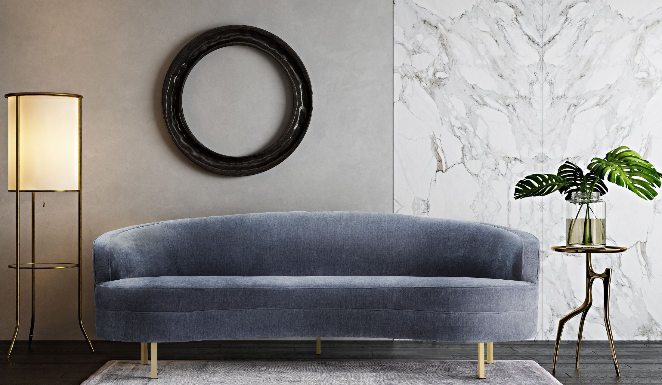 Baila gray velvet sofa from tov coleman furniture